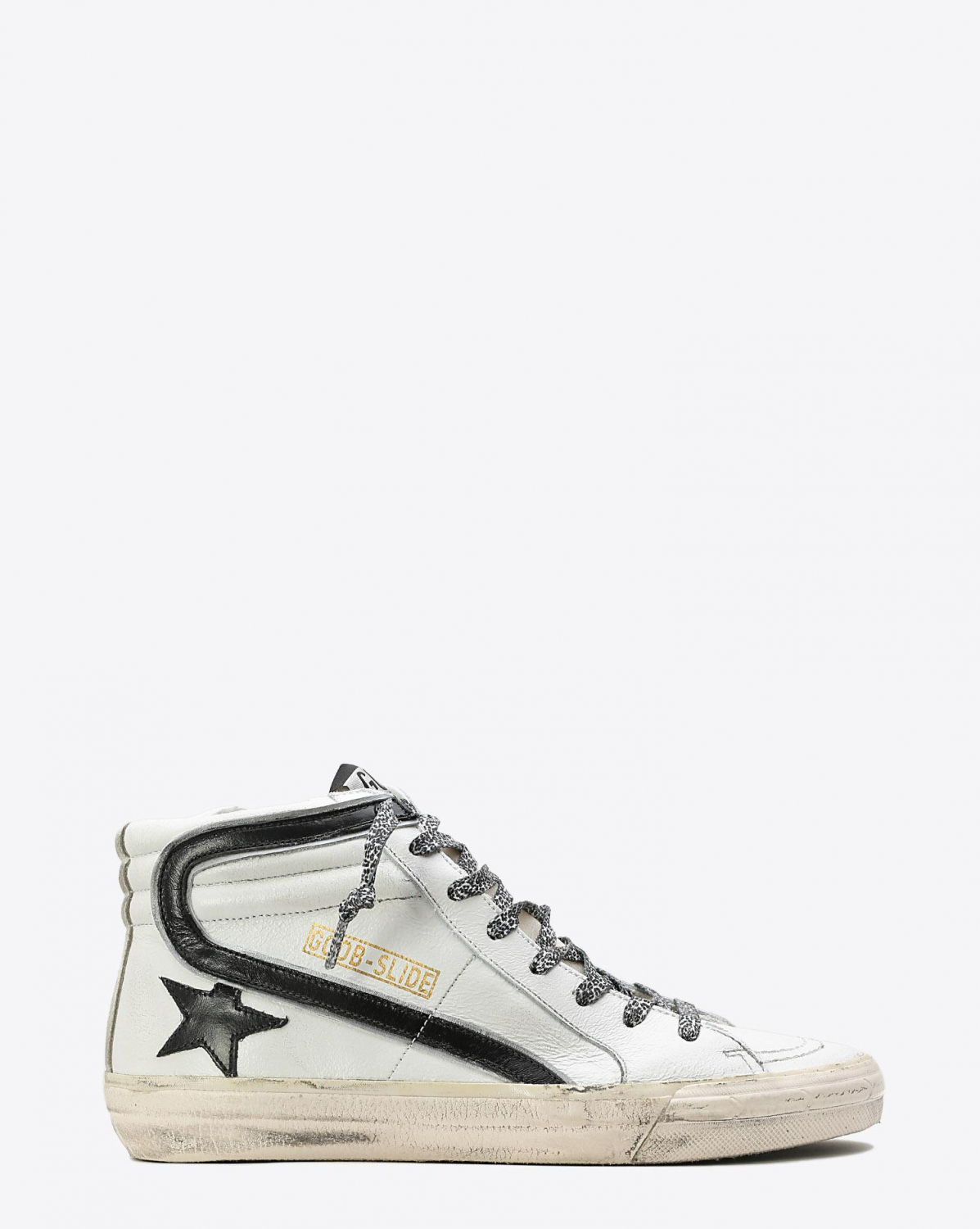 Golden Goose Woman Pré-Collection Sneakers Slide White Leather-Leopard Lace