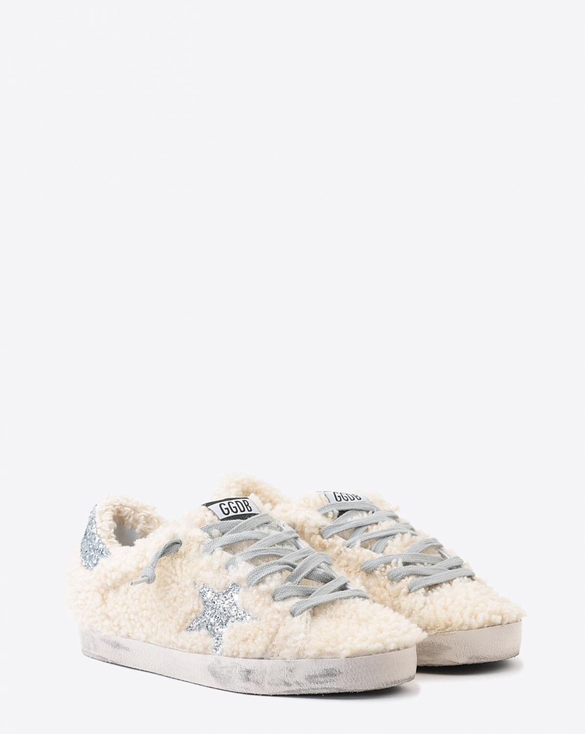 Golden Goose Woman Pré-Collection Sneakers Superstar - Cream Shearling - Silver Glitter Star