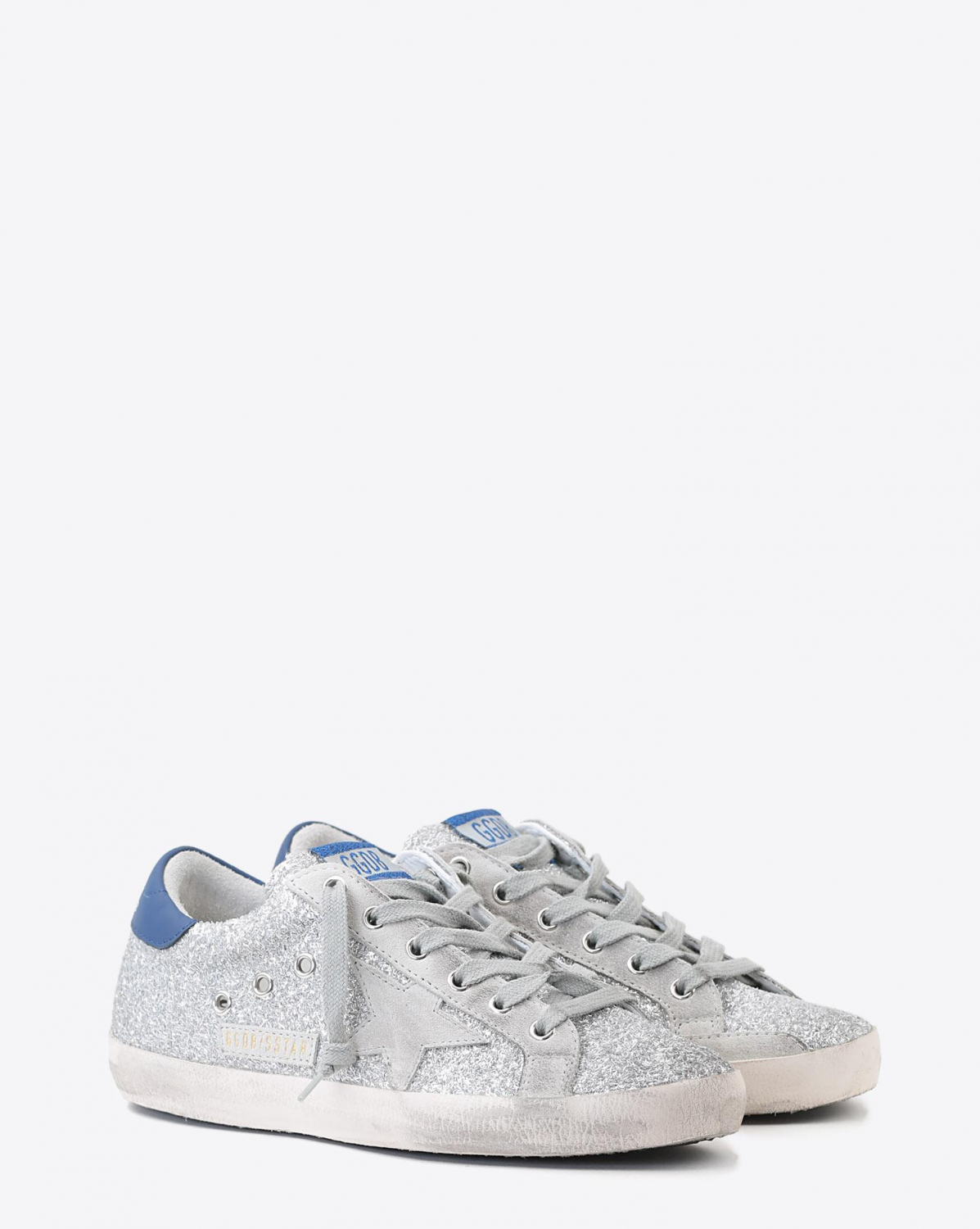 Golden Goose Woman Pré-Collection Sneakers Superstar - Silver Glitter Blue- Ice Star