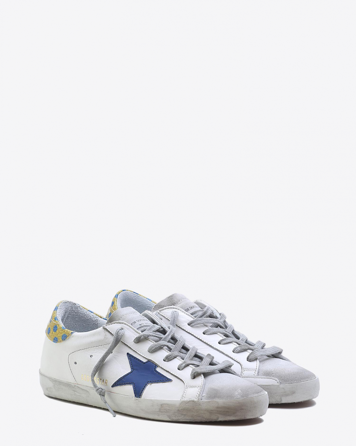 Golden Goose Woman Pré-Collection Sneakers Superstar - White Gold Glitter Blue Pois