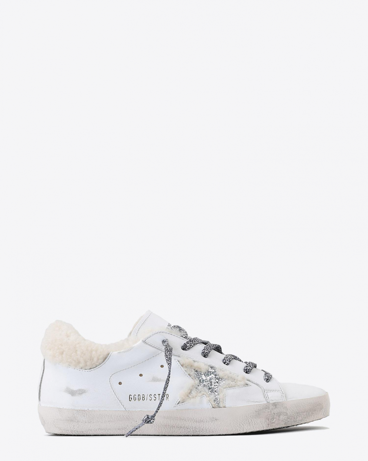 Golden Goose Woman Pré-Collection Sneakers Superstar - White Shearling- Silver Glitter Star