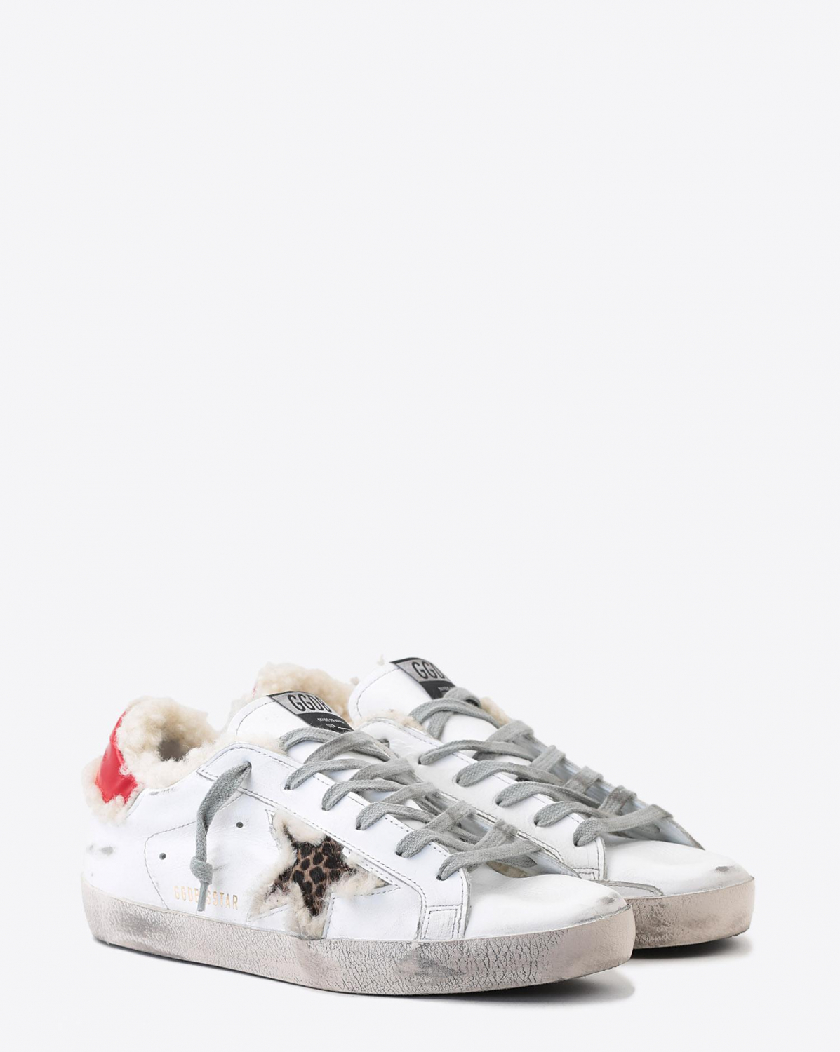 Golden Goose Woman Pré-Collection Sneakers Superstar - White Shearling - Leopard Star
