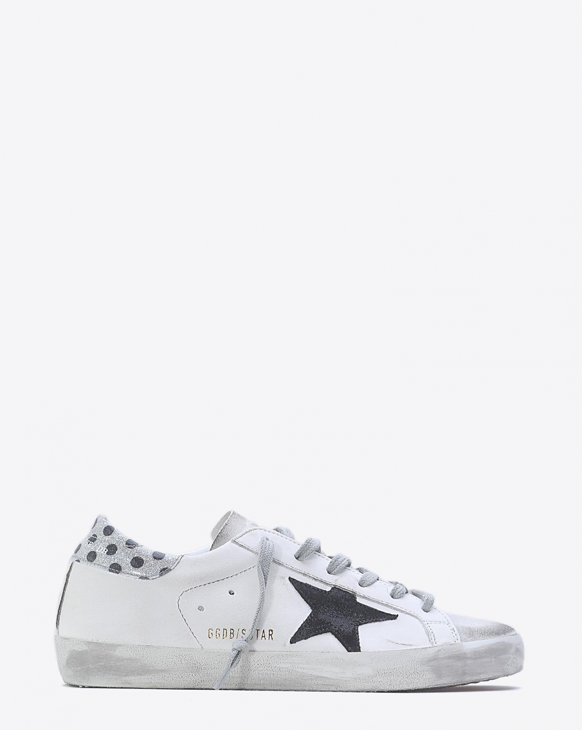 Golden Goose Woman Pré-Collection Sneakers Superstar - White Silver Glitter Black Pois