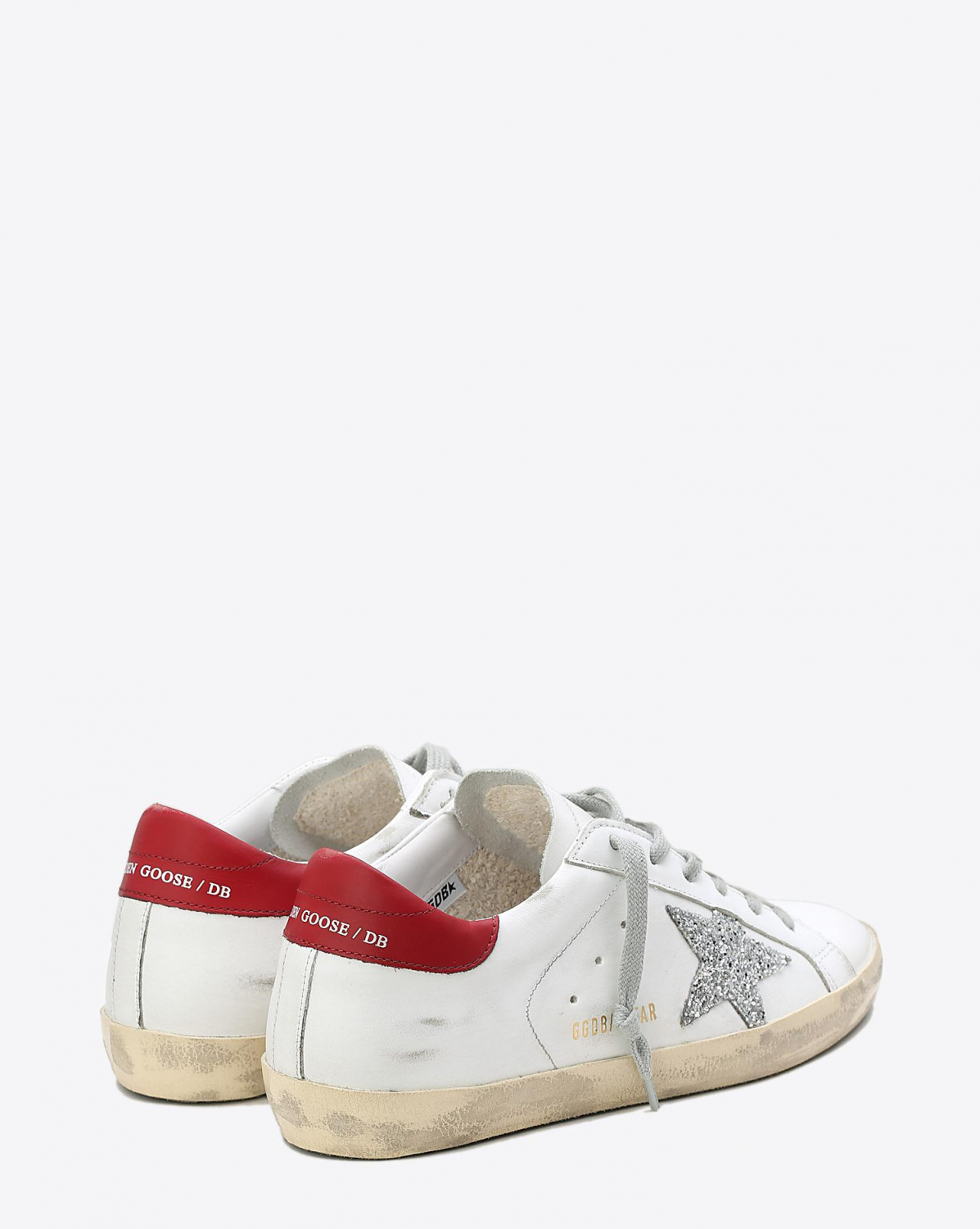 Golden Goose Woman Pré-Collection Sneakers Superstar WhiteRed - Silver Glitter