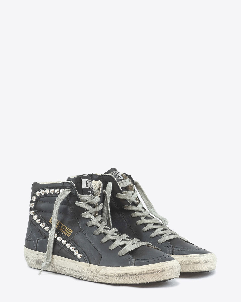 Golden Goose Woman Sneakers Slide - Black leather Studs