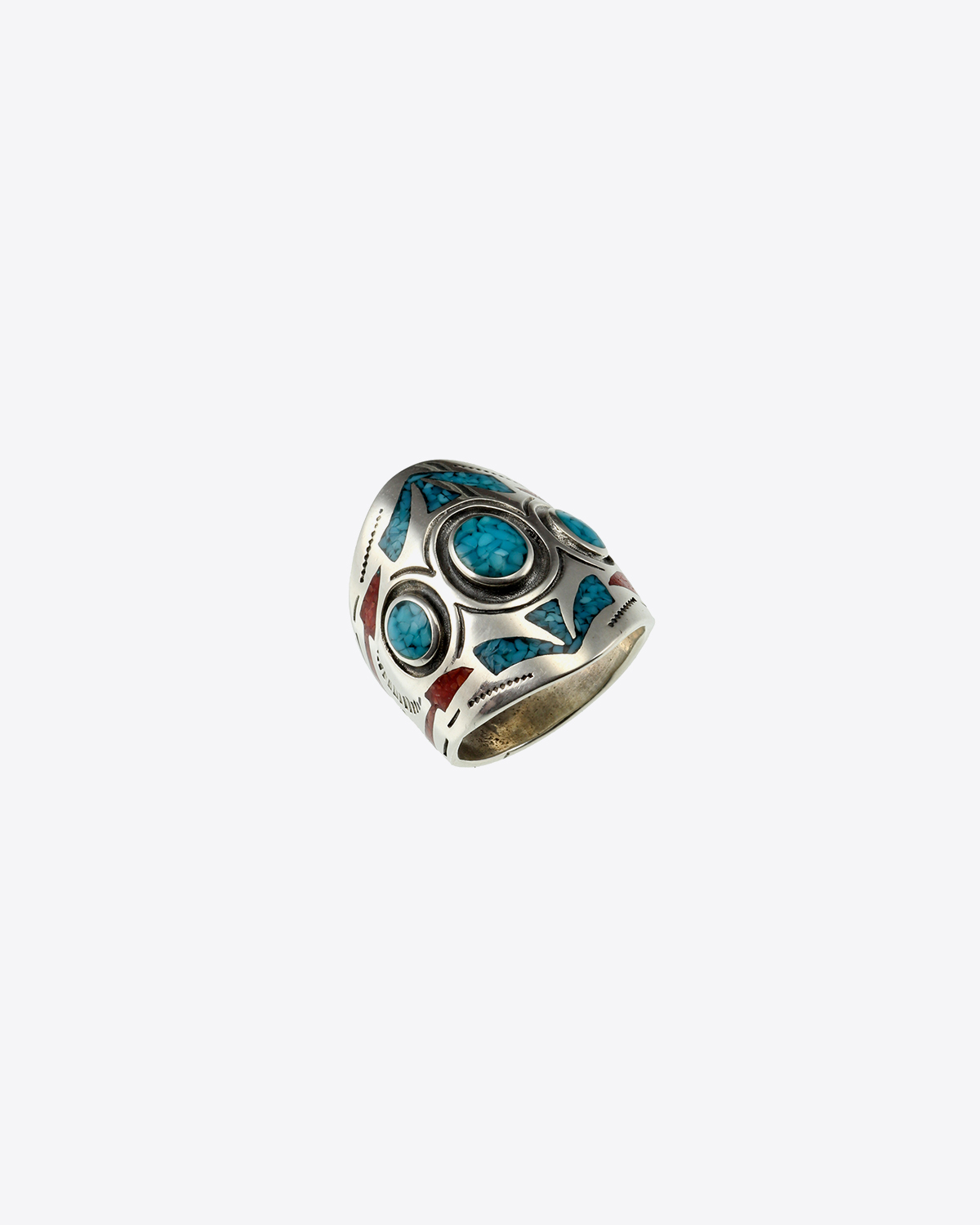 Harpo Bague Navajo Inlay Glève Incrustation Corail & Turquoise R186