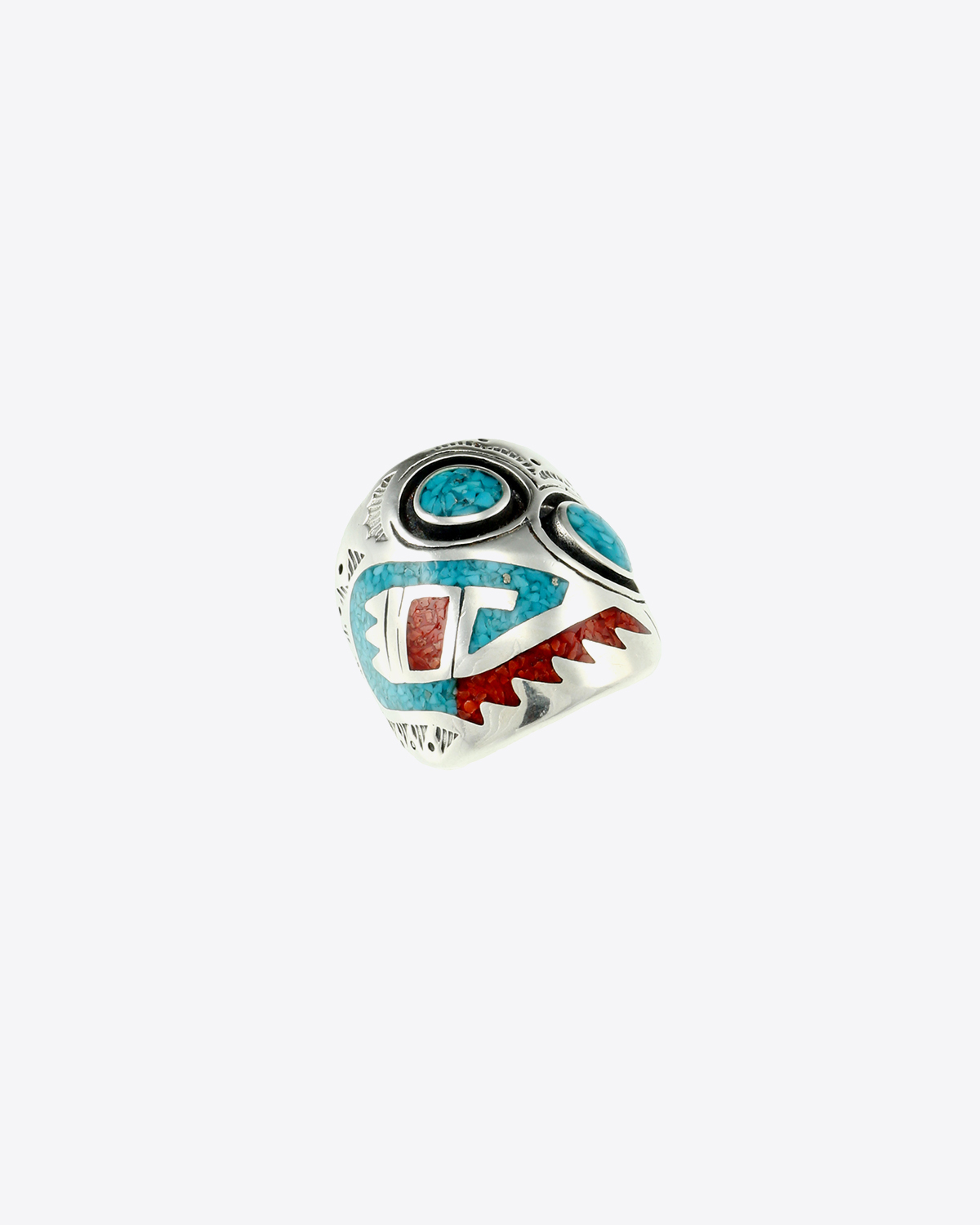 Harpo Bague Navajo Inlay Masque Incrustation Corail & Turquoise R184
