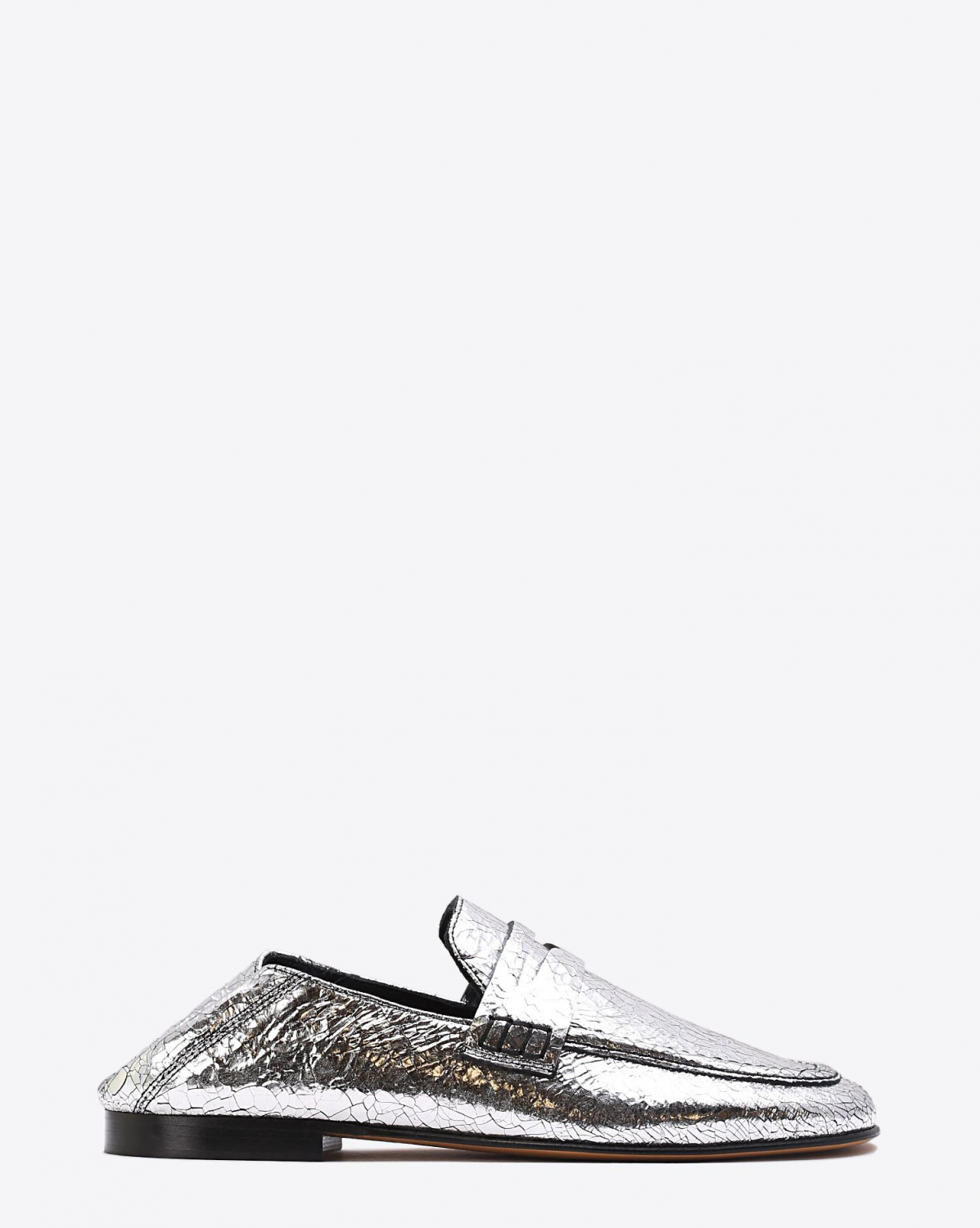 Isabel Marant Chaussures Mocassin Fezzy - Crack Leather Silver