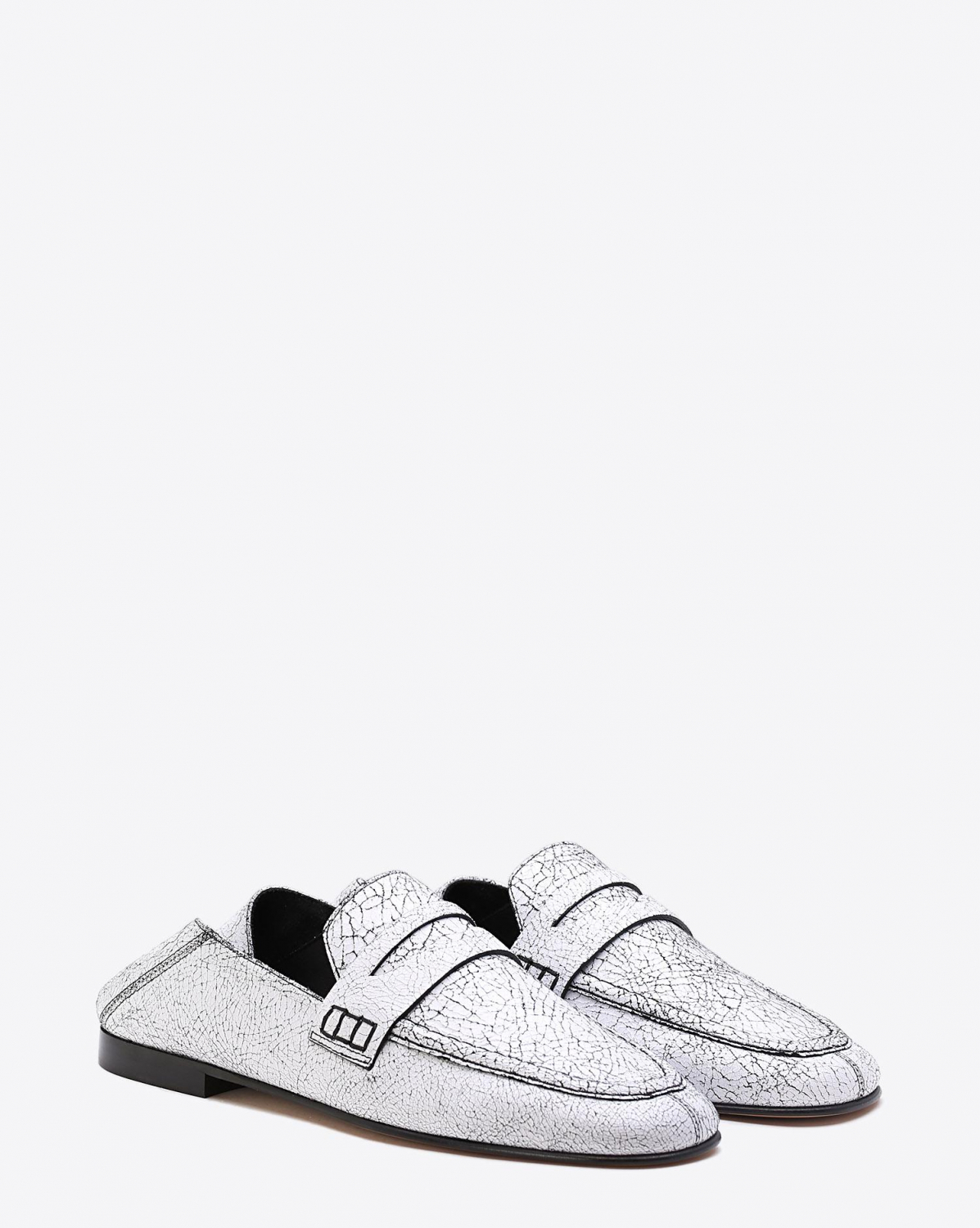Isabel Marant Chaussures Mocassin Fezzy - Crack Leather White