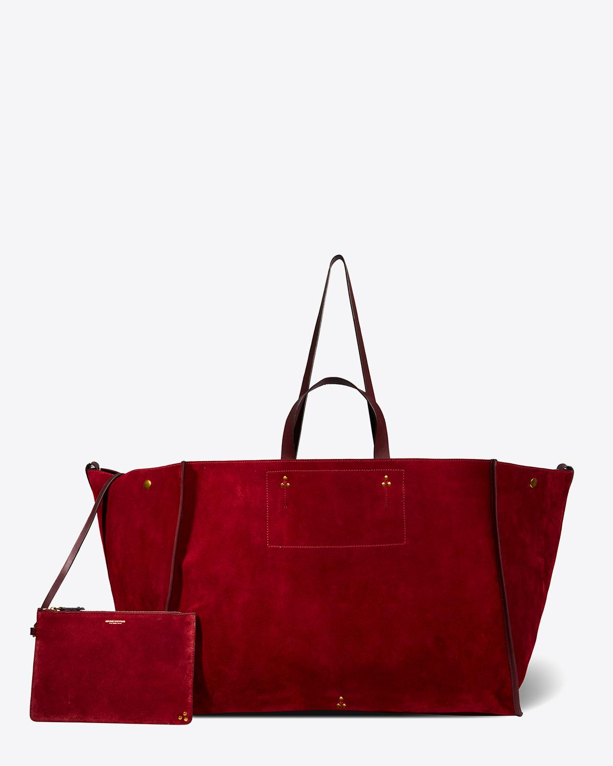 Jérôme Dreyfuss Collection Leon XL Split Suede Burgundy