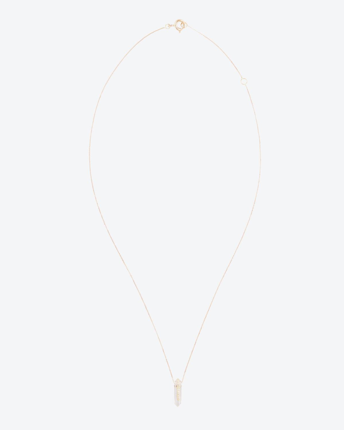Pascale Monvoisin Moon N°1 Collier Or Jaune 9k, Crystal & diamants