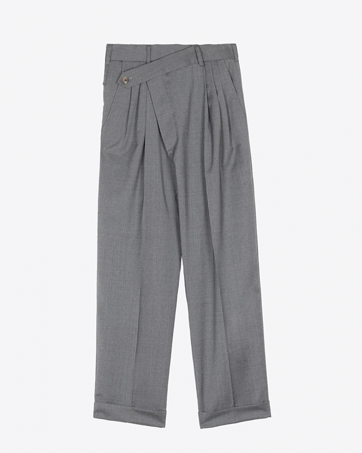 R13 Denim Collection Cropped Triple-Pleat Crossover - Lt Grey Pinstripe