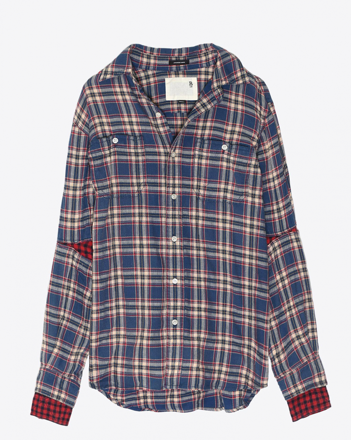 R13 Denim Collection Double Sleeve Shirt - Blue Pink Plaid