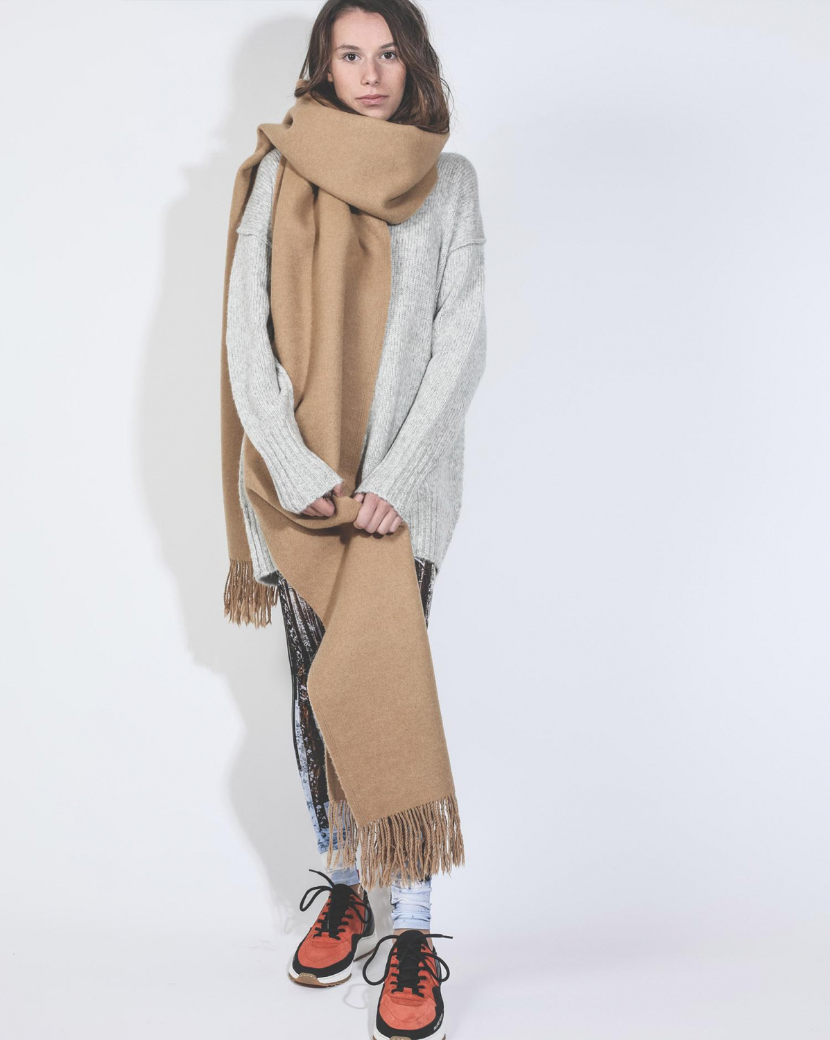 R13 Denim Collection Extra Long Scarf - Camel