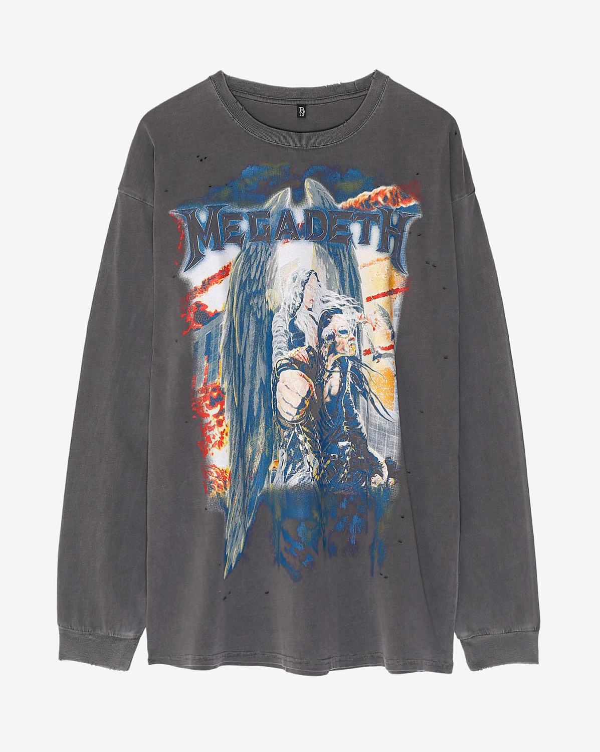 R13 Denim Collection Megadeth Long Sleeve T - Faded Black