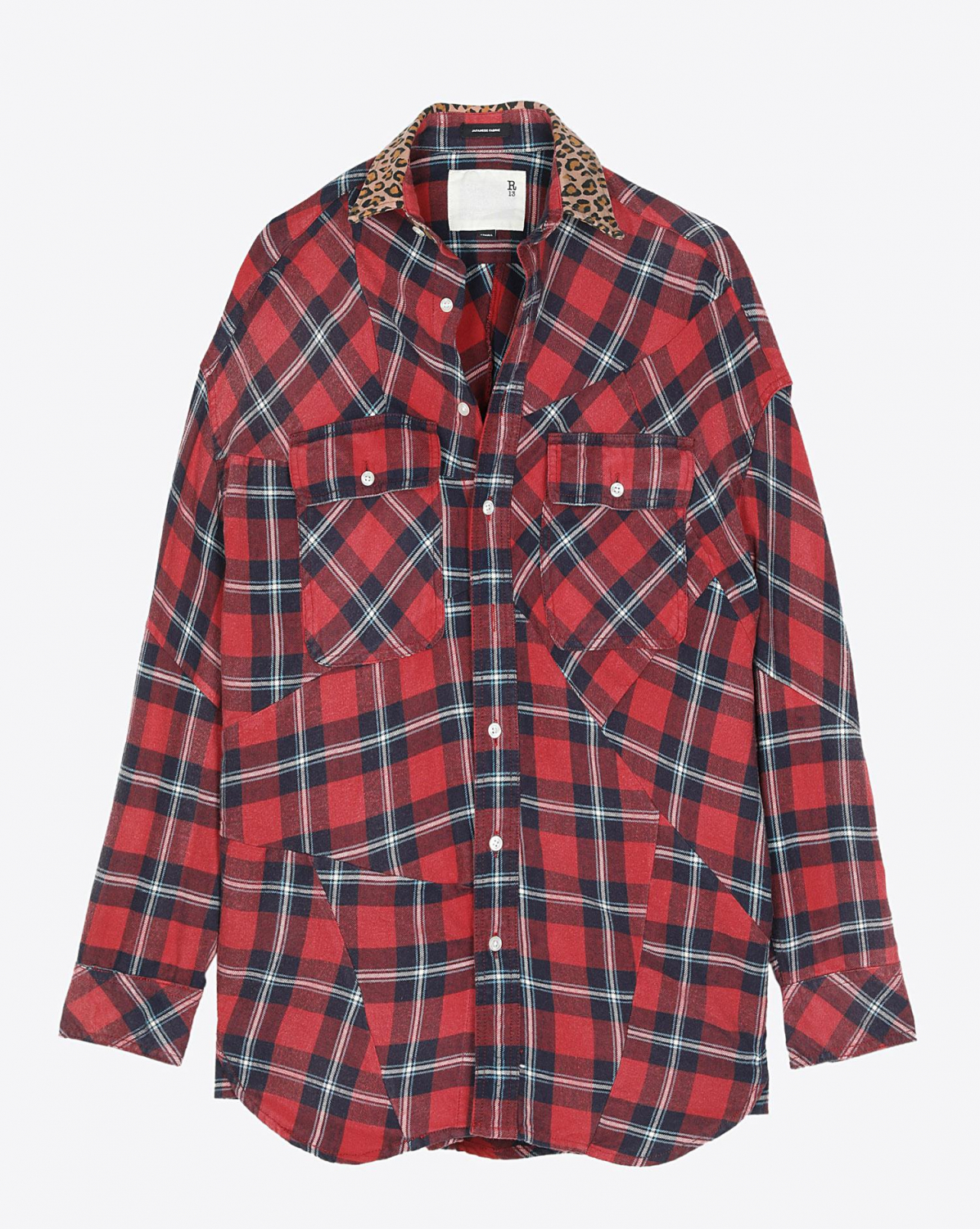 R13 Denim Collection Patched Shirt - Red Plaid W/Leopard