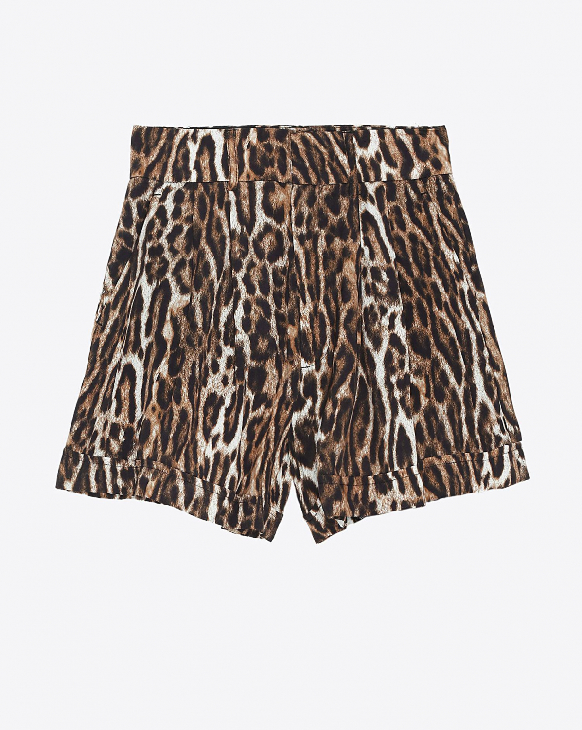 R13 Denim Collection Pleated High Rise Short - Leopard