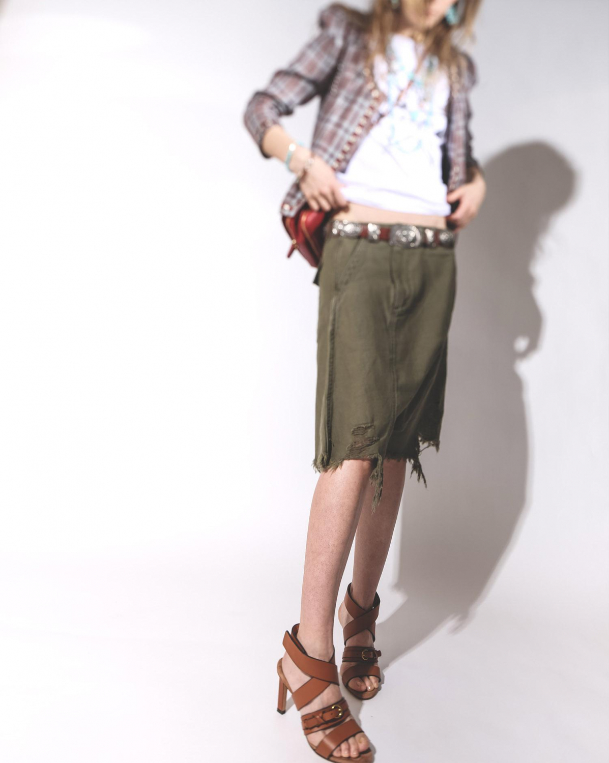 R13 Denim Collection Twisted Utility Short - Fatigue Olive
