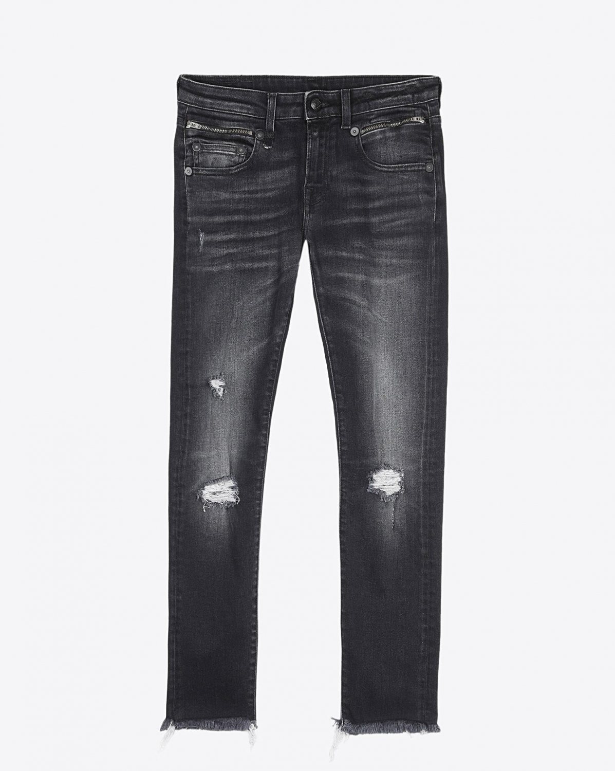 R13 Denim Permanent  Biker Boy - Albany W Rips