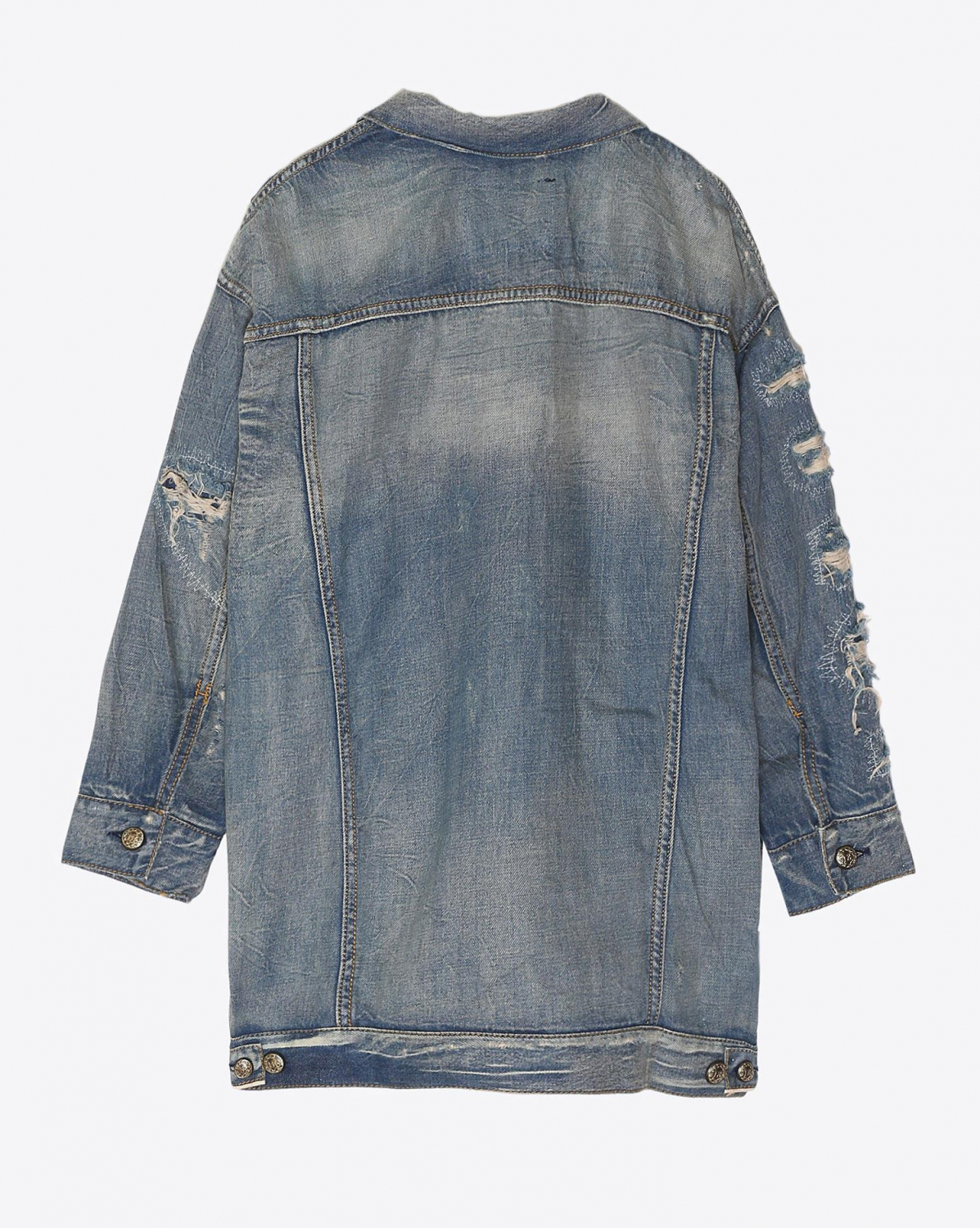 R13 Denim Permanent Oversized Trucker - Selv Shred Blue