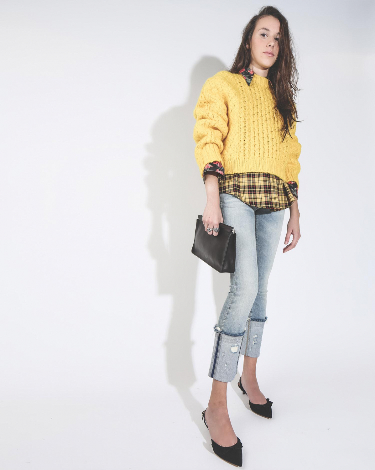 R13 Denim Pré-Collection Exaggerated Collar Cowboy Shirt - Yellow  Black