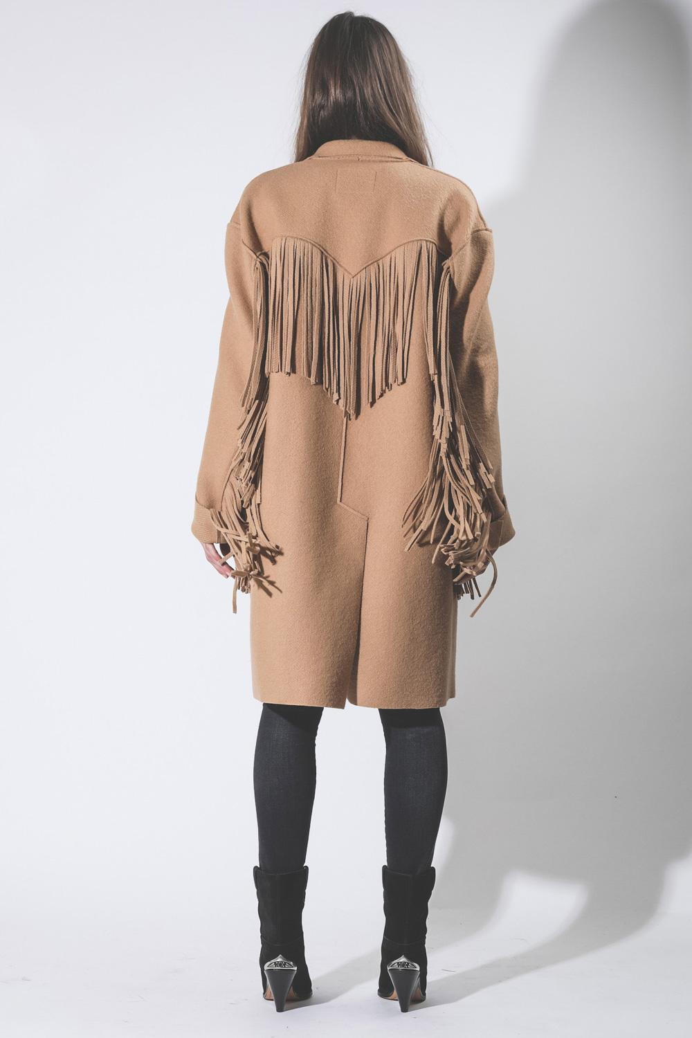 R13 Denim Pré-Collection Fringe Raw Cut Coat - Camel