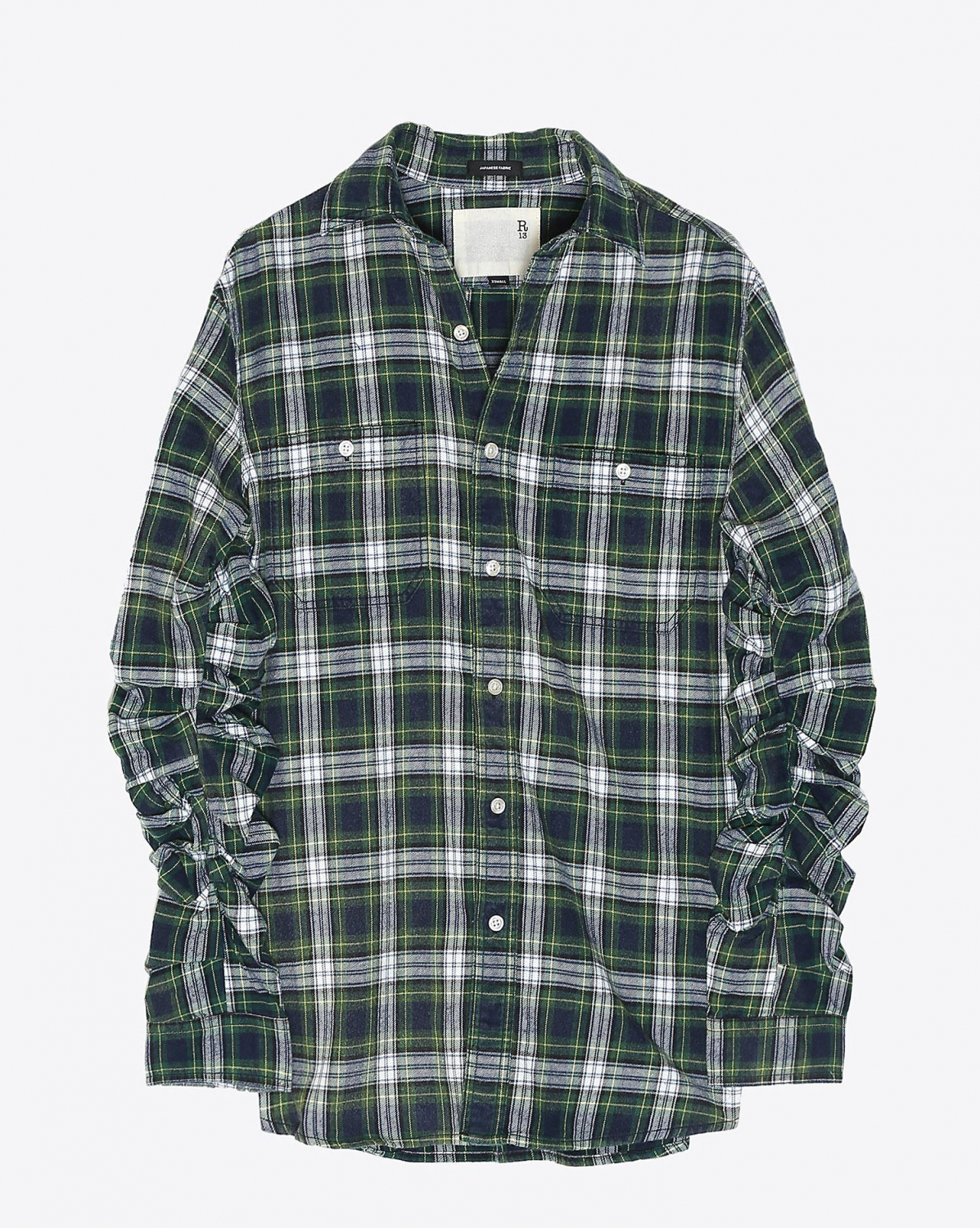 R13 Denim Pré-Collection Pleated Sleeve Shirt - Green Plaid