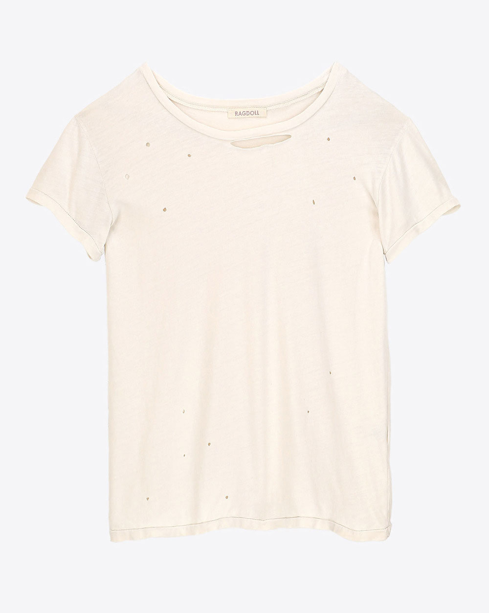 Ragdoll LA Distressed Vintage Tee - Bone White
