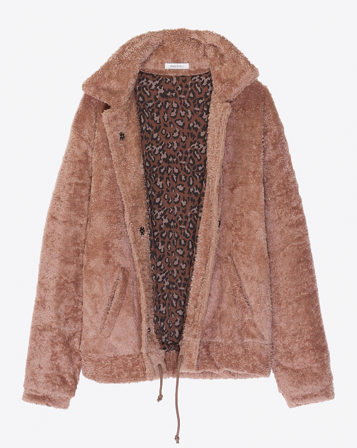 Ragdoll LA Teddy Bomber Jacket Camel  Reversible Brown Leopard