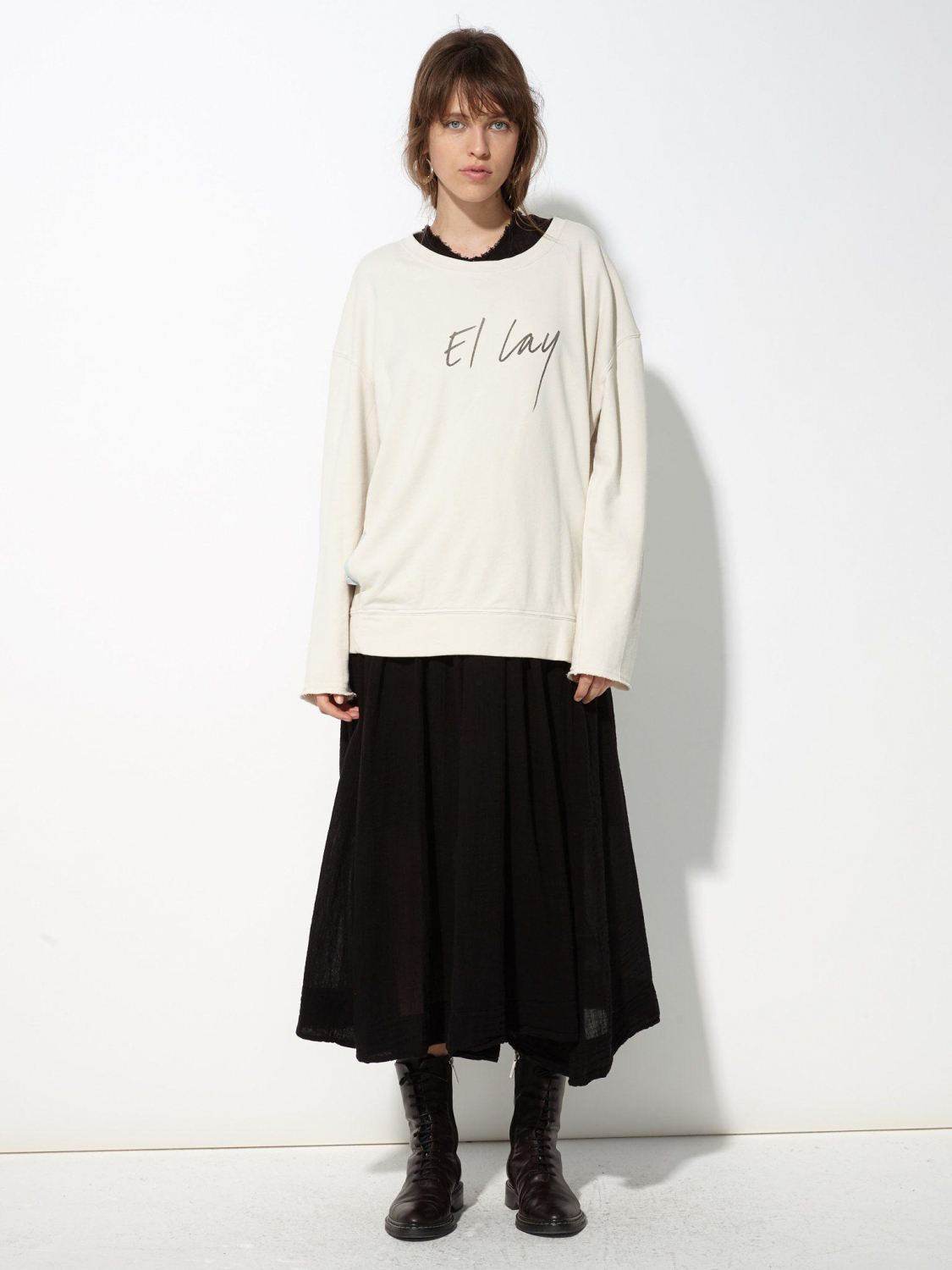 Raquel Allegra Pré-Collection Roomy Sweatshirt French Terry - Dirty White