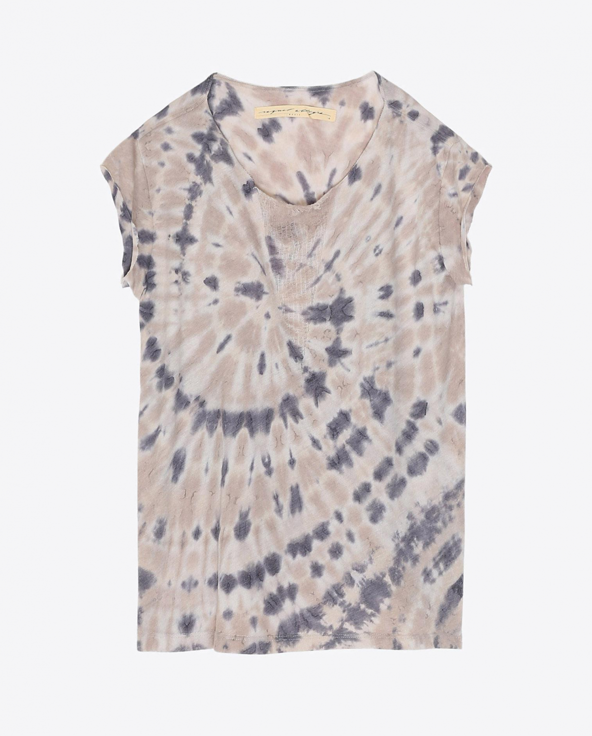 Raquel Allegra Pré-Collection Shred Front Muscle Tee Tie & Dye - Sand Dollar