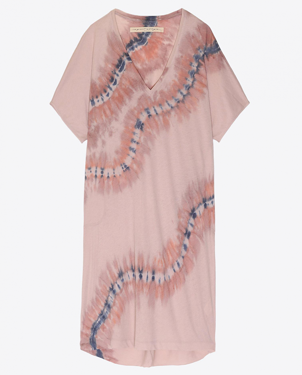 Raquel Allegra Pré-Collection V - Neck Dress - Tie & Dye Nude