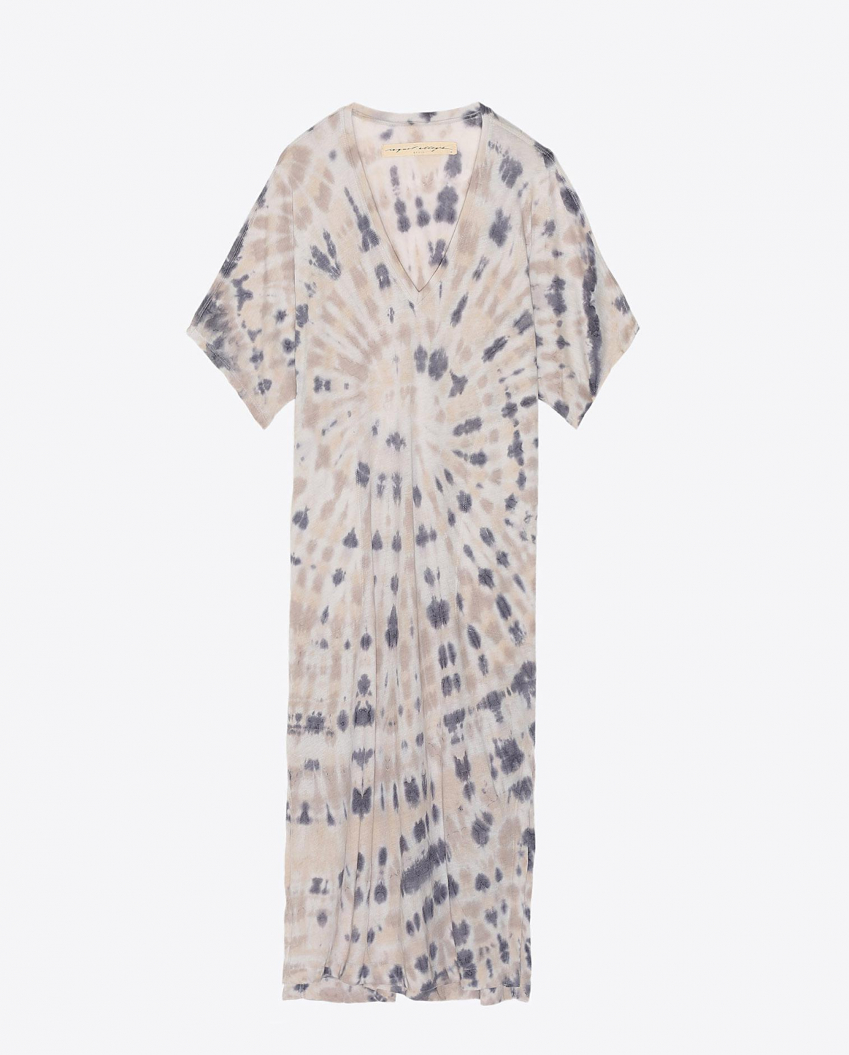 Raquel Allegra Pré-Collection V Neck Boxy Dress Tie & Dye - Sand Dollar
