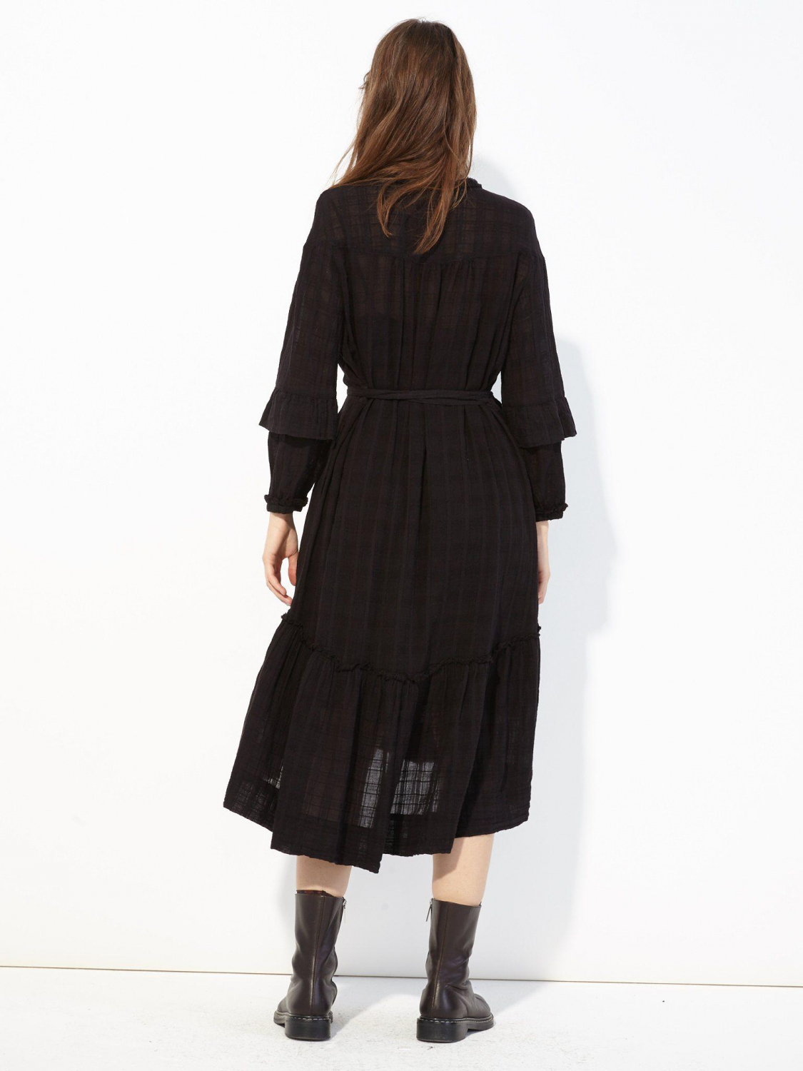 Raquel Allegra Pré-Collection Victorian Ruffle Dress - Black