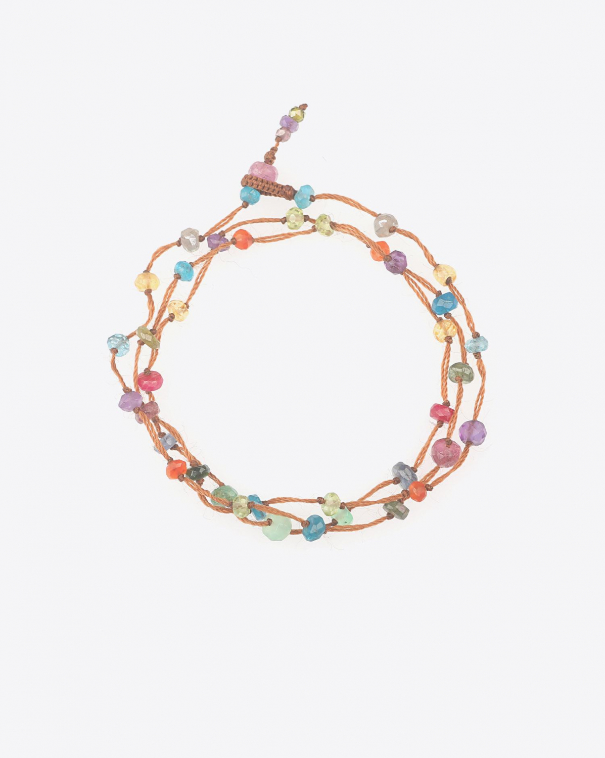 Sharing Bracelet 3 ToursCollier Court  LOOPY FAIRY - Cordon Tabac