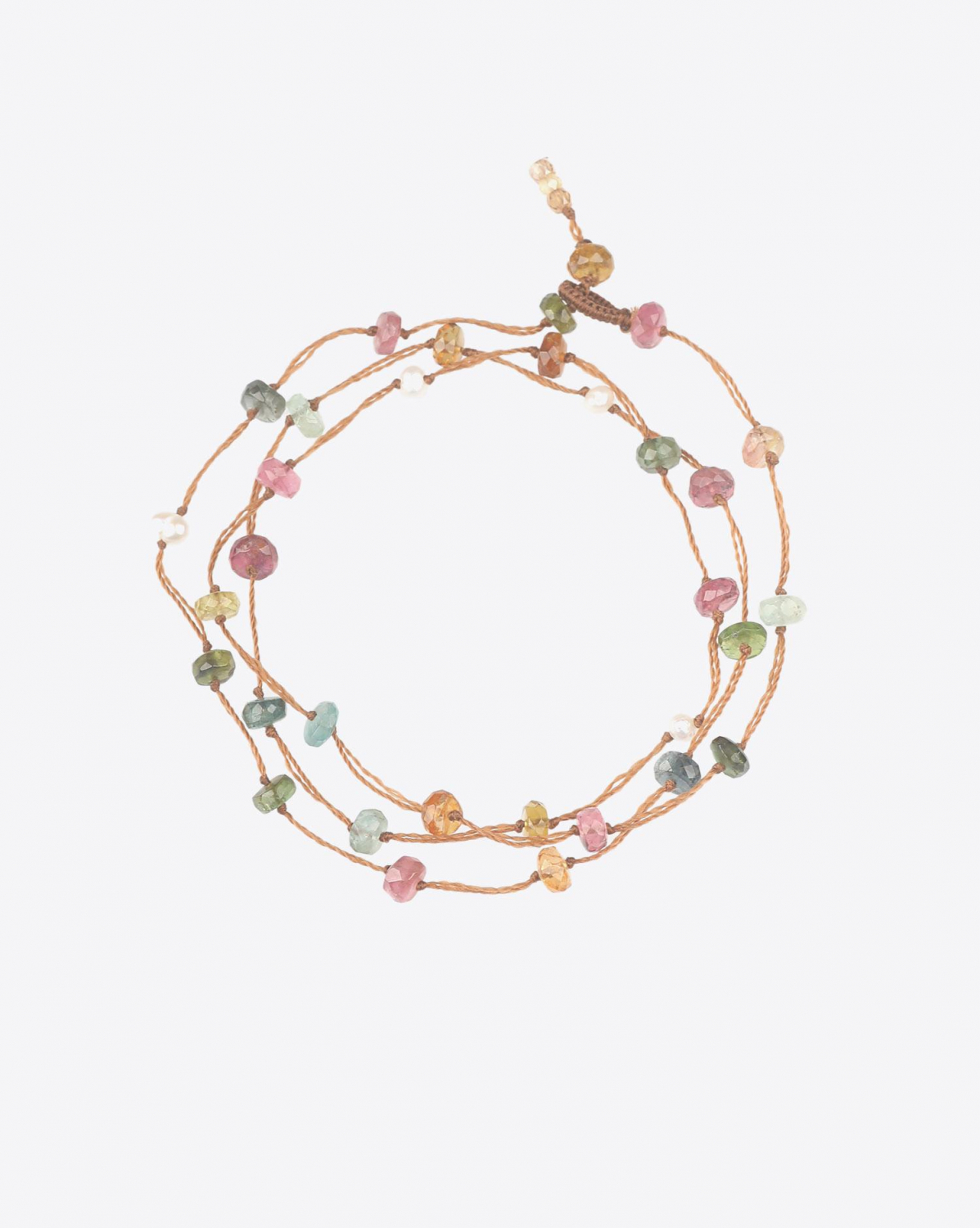 Sharing Bracelet 3 Tours LOOPY TOURMALINE - Cordon Tabac