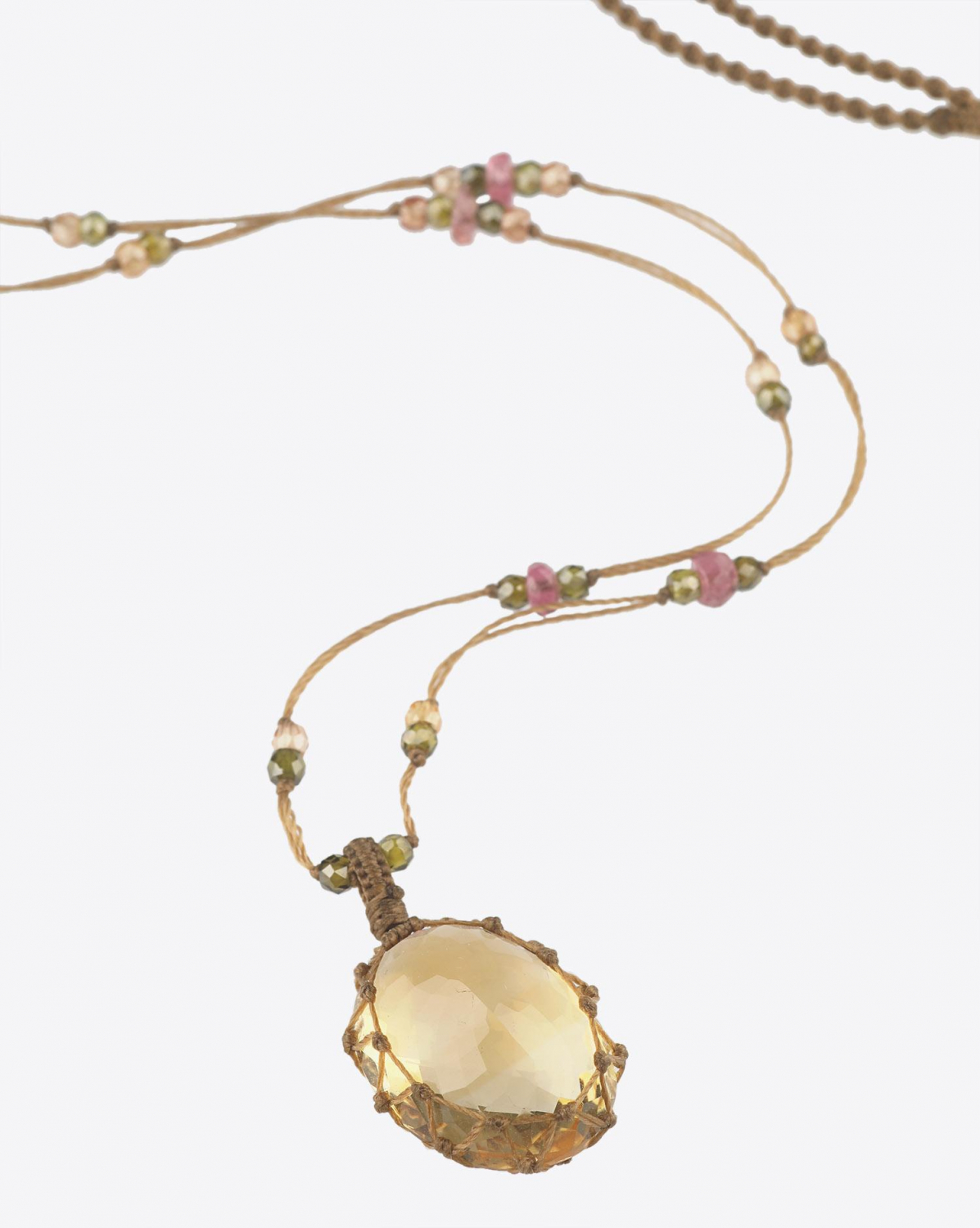 Sharing Collier Court TIBETAN Sur Cordon Beige - Citrine