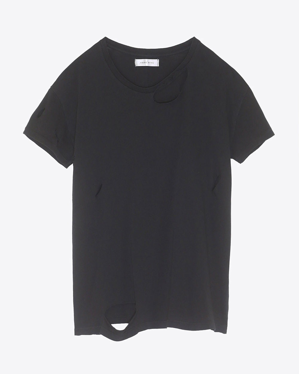 Anine Bing Permanent Distressed T-Shirt in Black