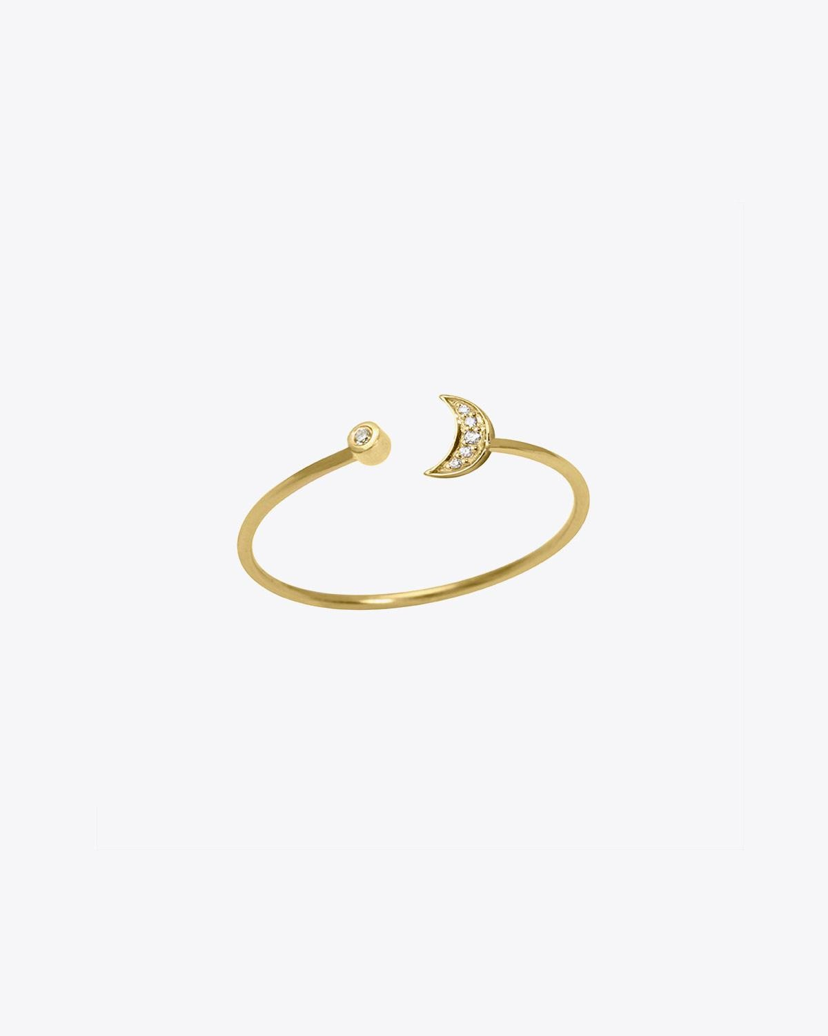 Feidt Bague Lune ouverte In the Moon for love - Or jaune 18k, Diamants