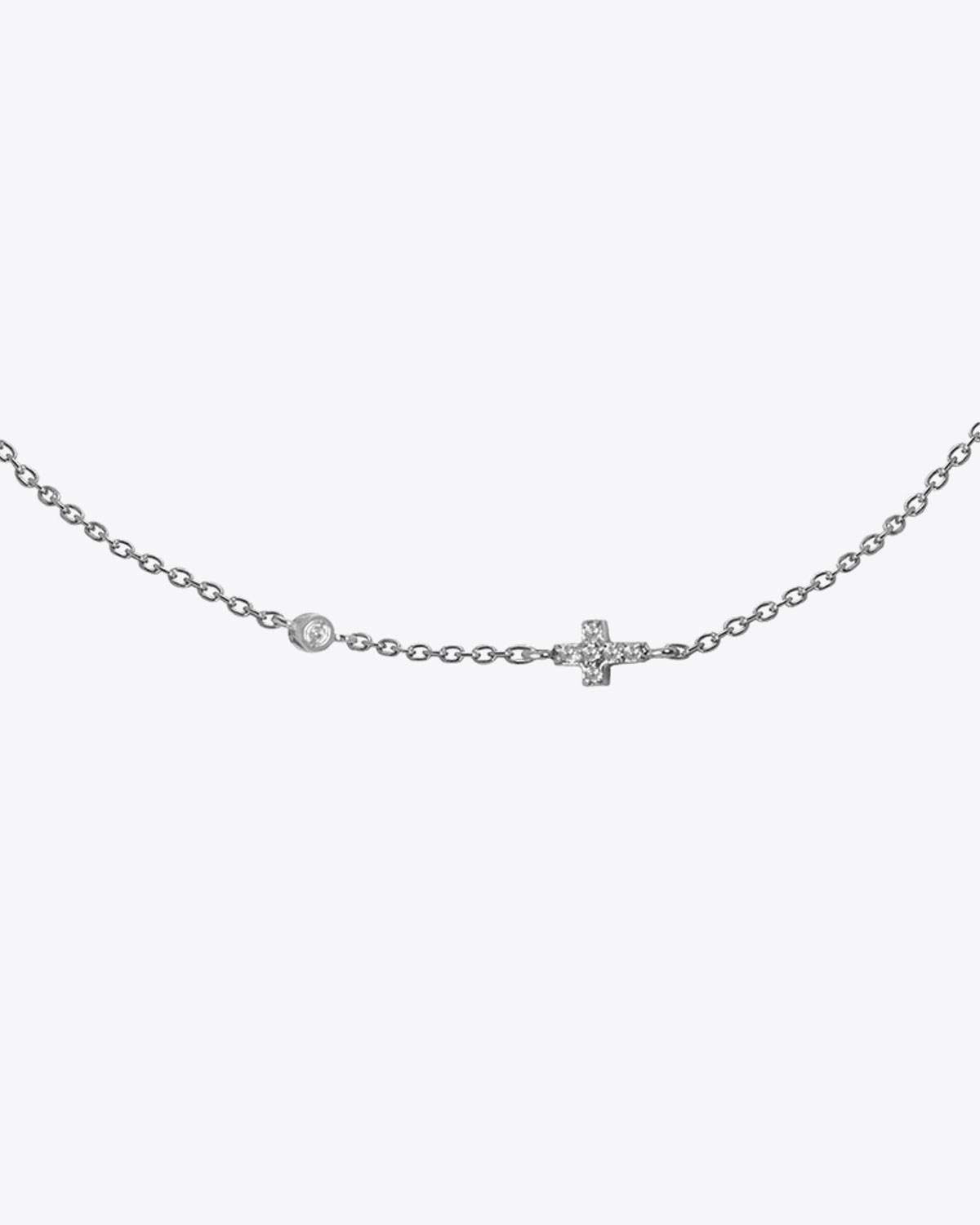 Feidt Collier mini Croix + Diamant In the moon for love - Or blanc 18k