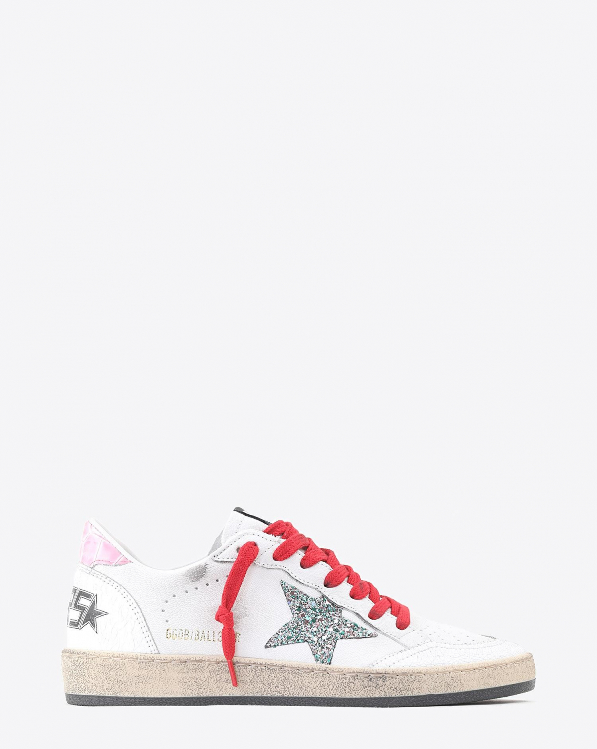 Golden Goose Woman Collection Sneakers Ball Star - White Crack Leather - Pink Cocco - Multi Glitter Star