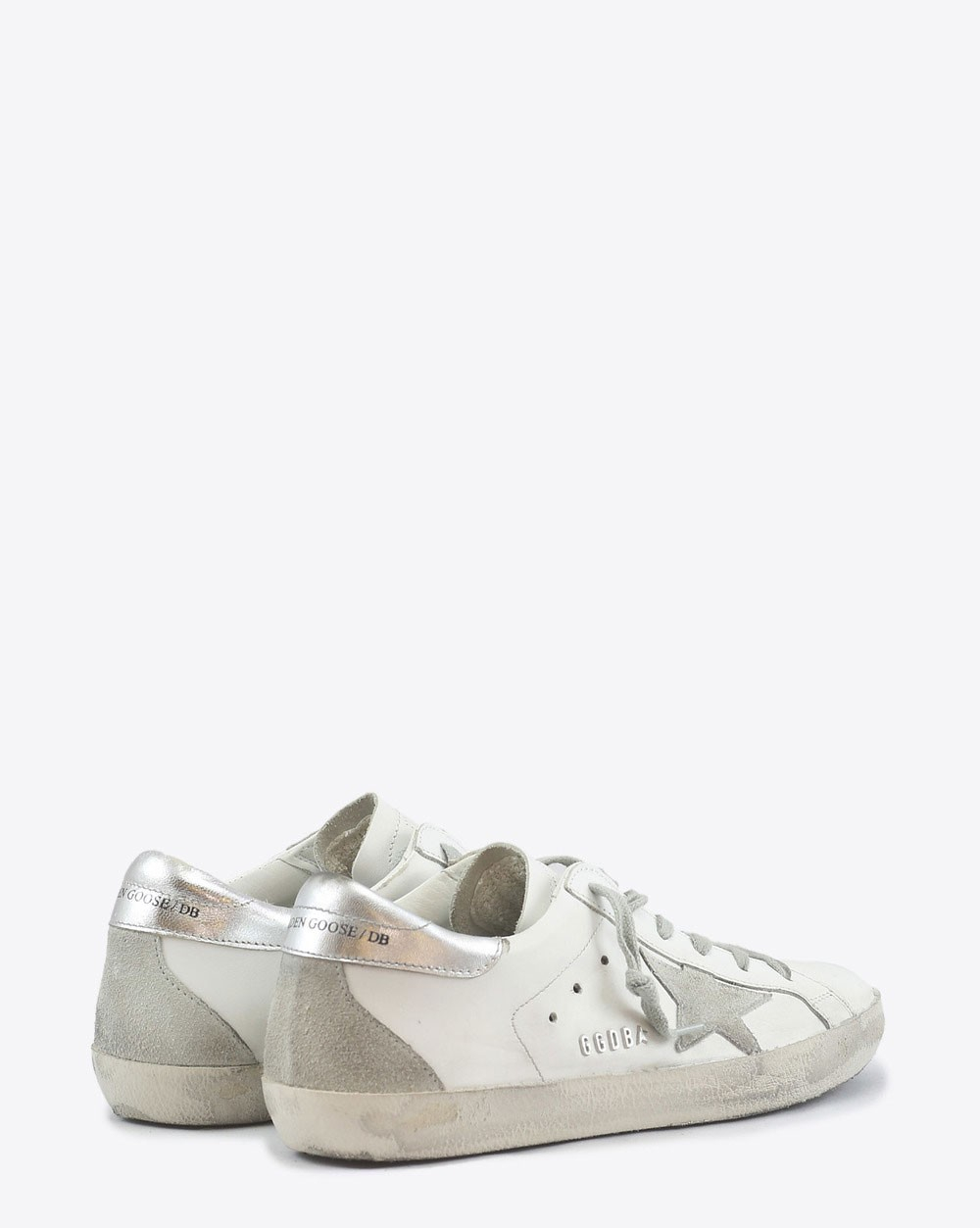 Golden Goose Woman Permanent Sneakers Superstar - White Silver Metal Lettering