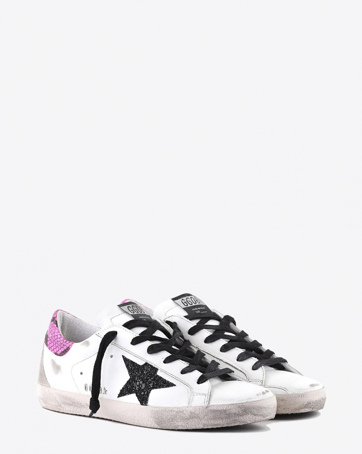 Golden Goose Woman Pré-Collection Sneakers Superstar - White Leather - Fuxia Python - Glitter Star