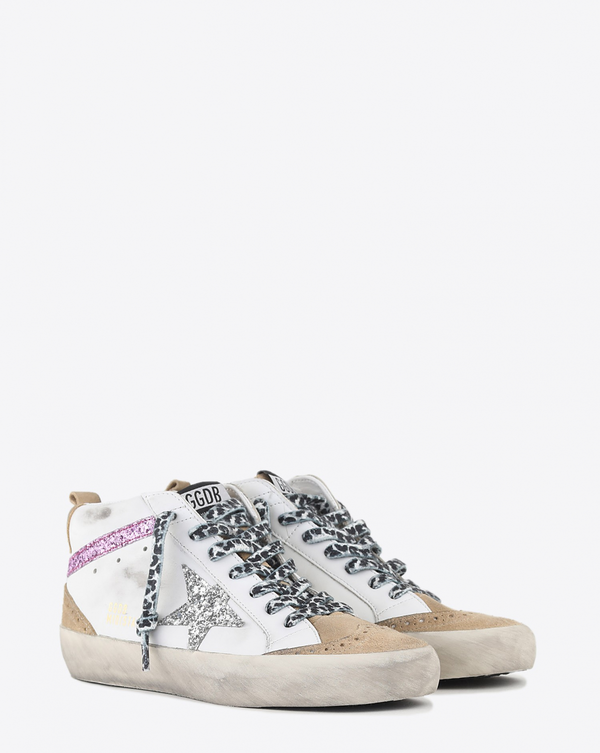 Golden Goose Woman Collection Mid Star - Cappuccino Silver Lavender 80791
