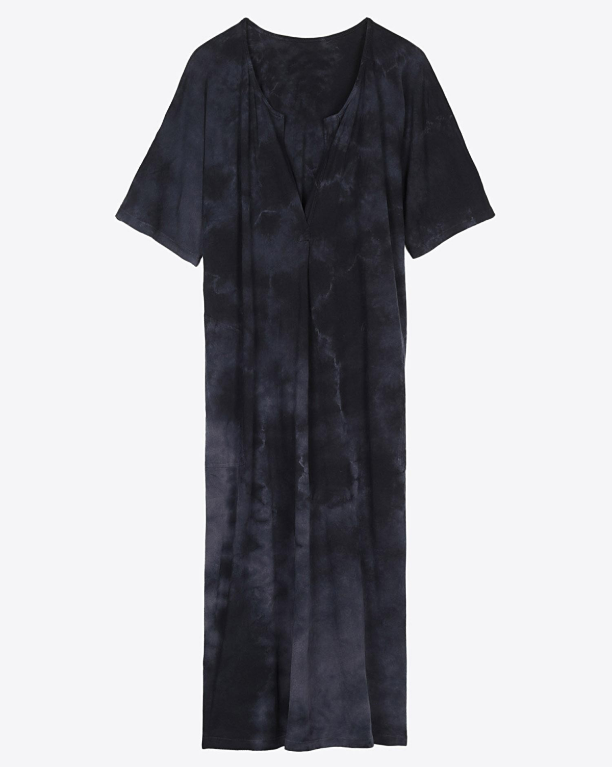 Raquel Allegra Pré-Collection Henley Dress - Black Tie Dye