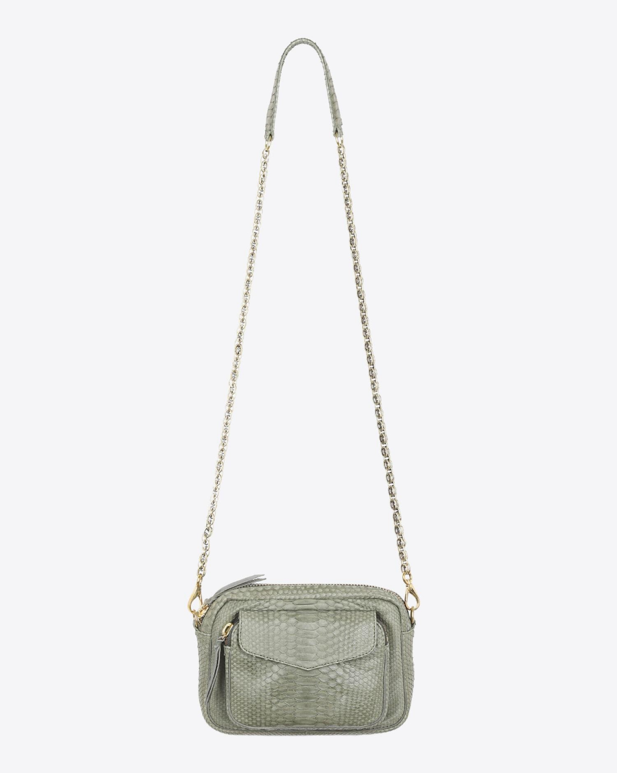 Claris Virot Sac Python Charly Militaire Chaine Or