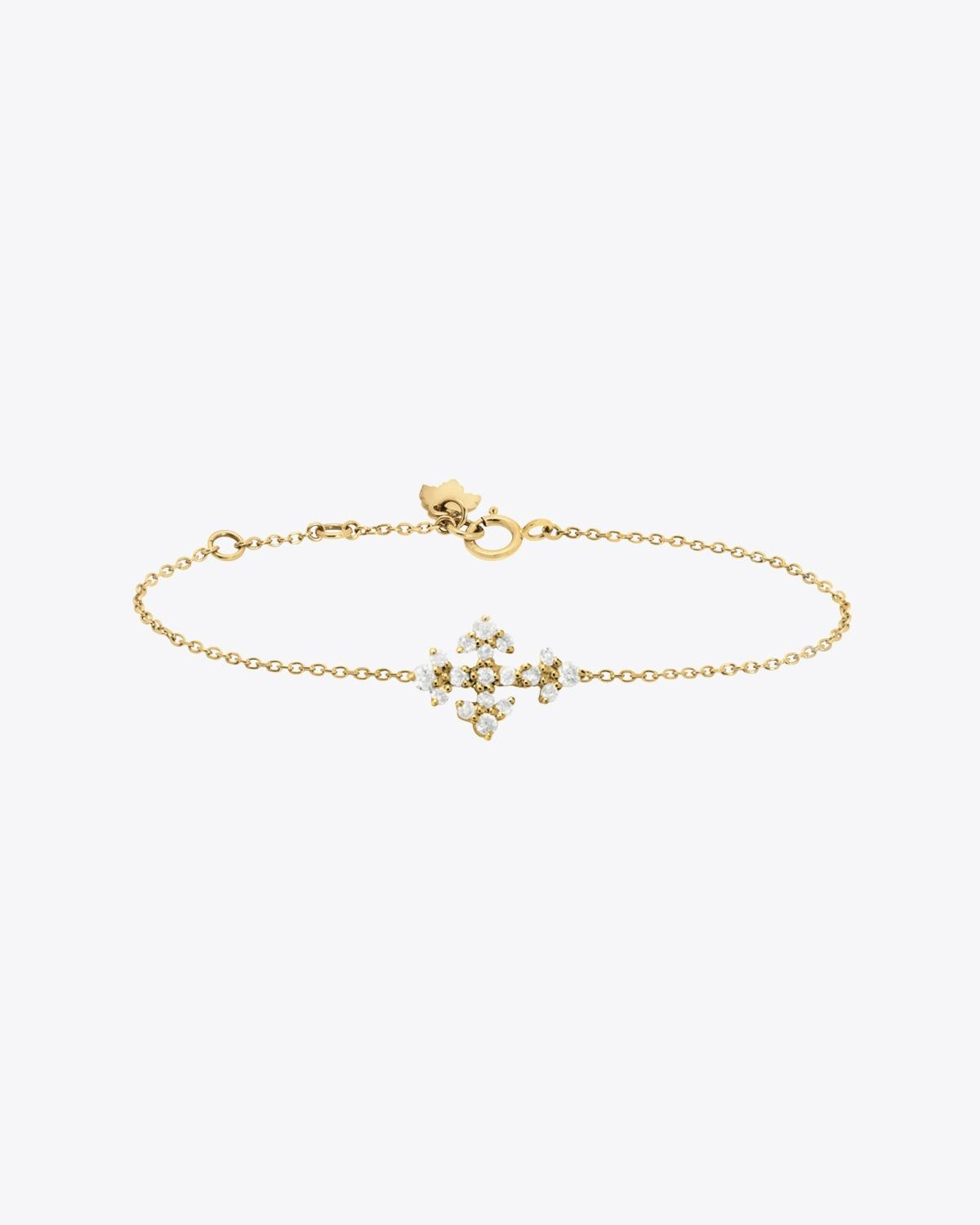 Feidt Bracelet Mini Croix Huguenote - Or Jaune 18K et Diamants