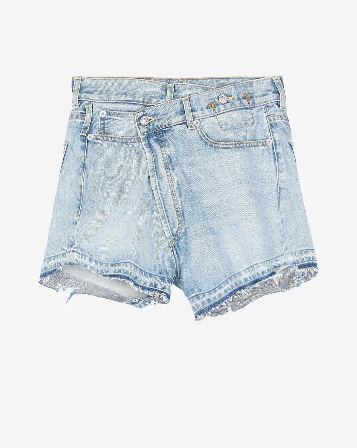 R13 Denim Permanent Cross Over Short - Tilly W Let Down Hem
