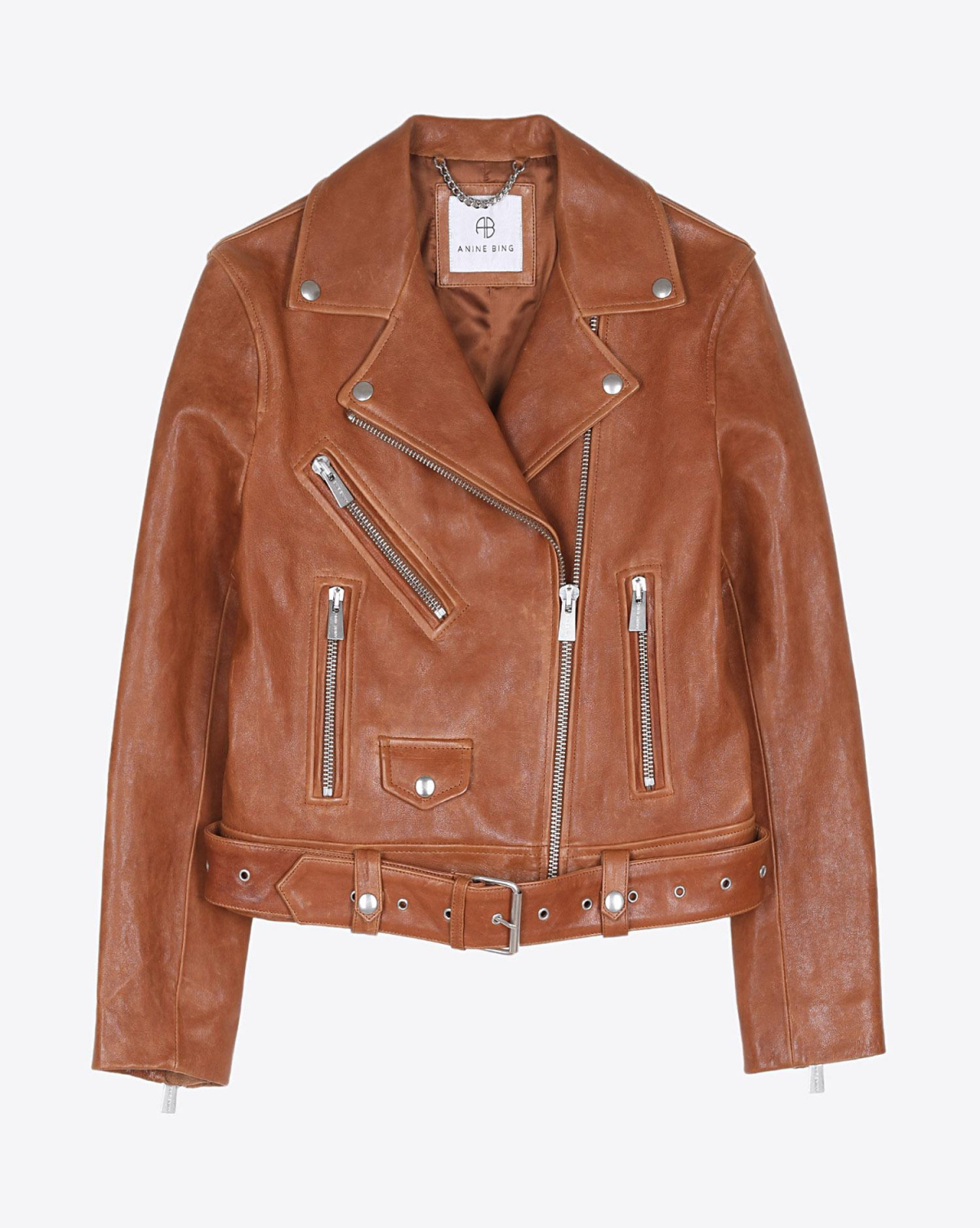 Anine Bing Benjamin Leather Jacket - Cognac