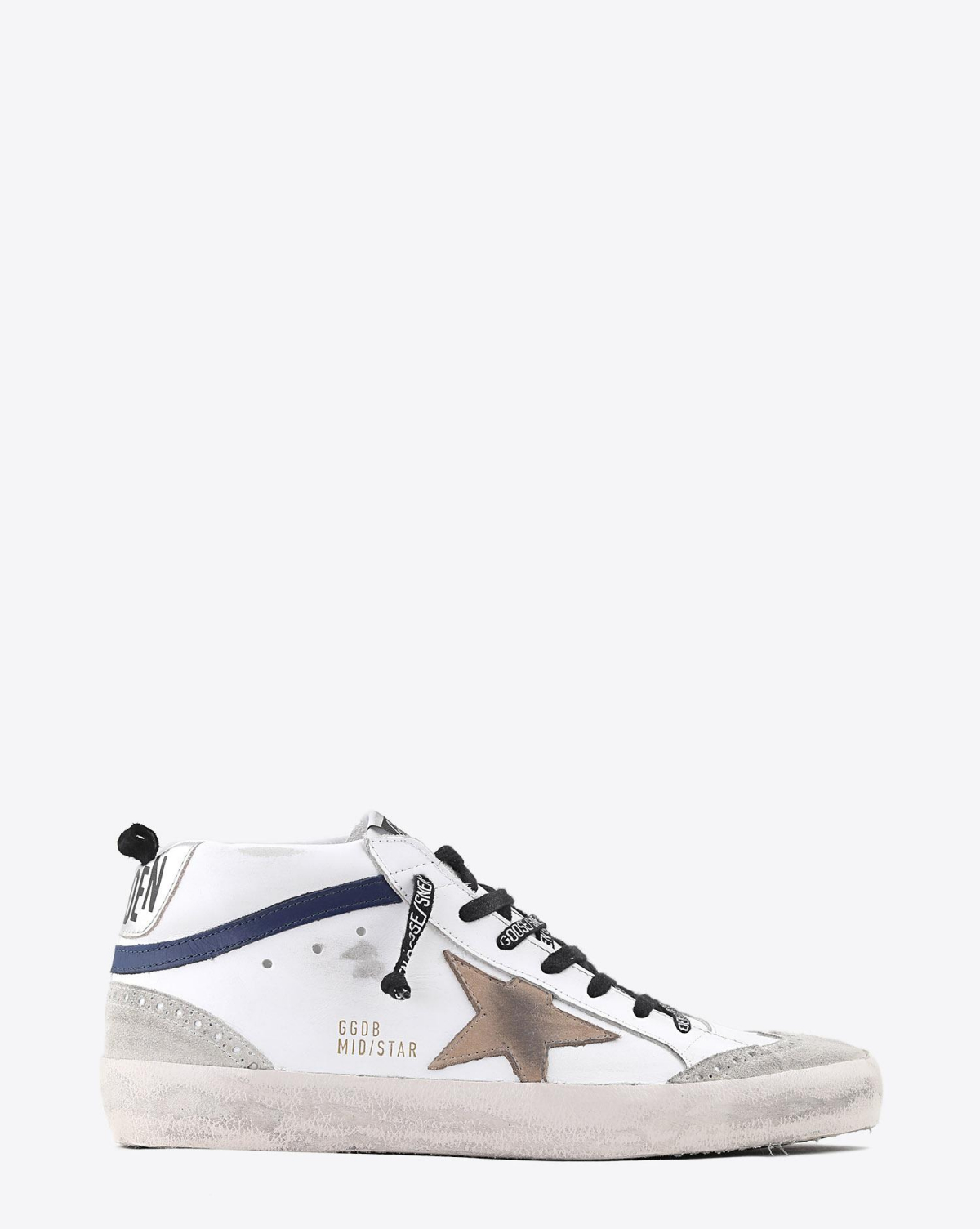 Golden Goose Men Sneakers Mid Star - White Blue Leather - Incense Star